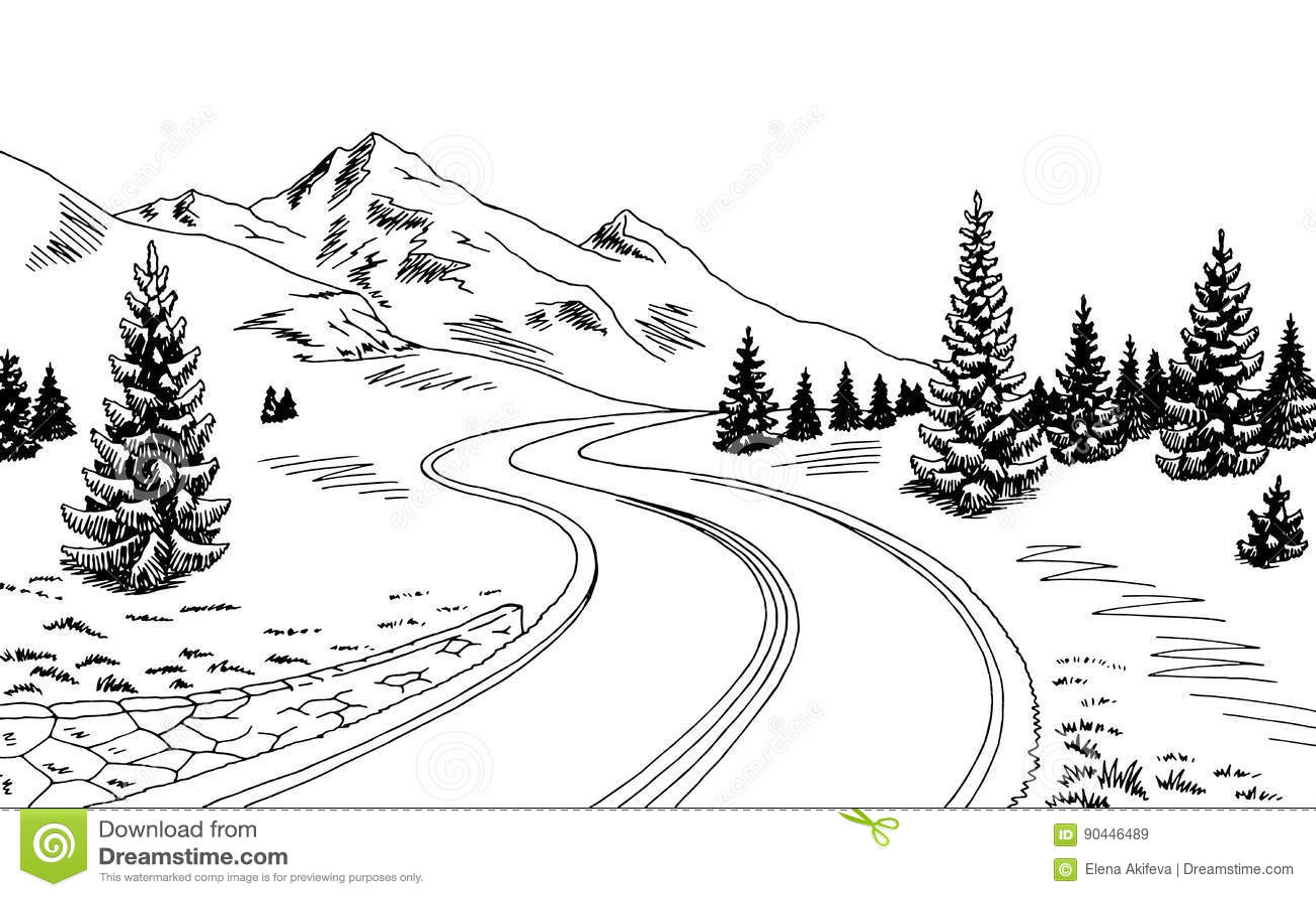 illustration blanche noire graphique de croquis de paysage de route de montagne illustration de. Black Bedroom Furniture Sets. Home Design Ideas