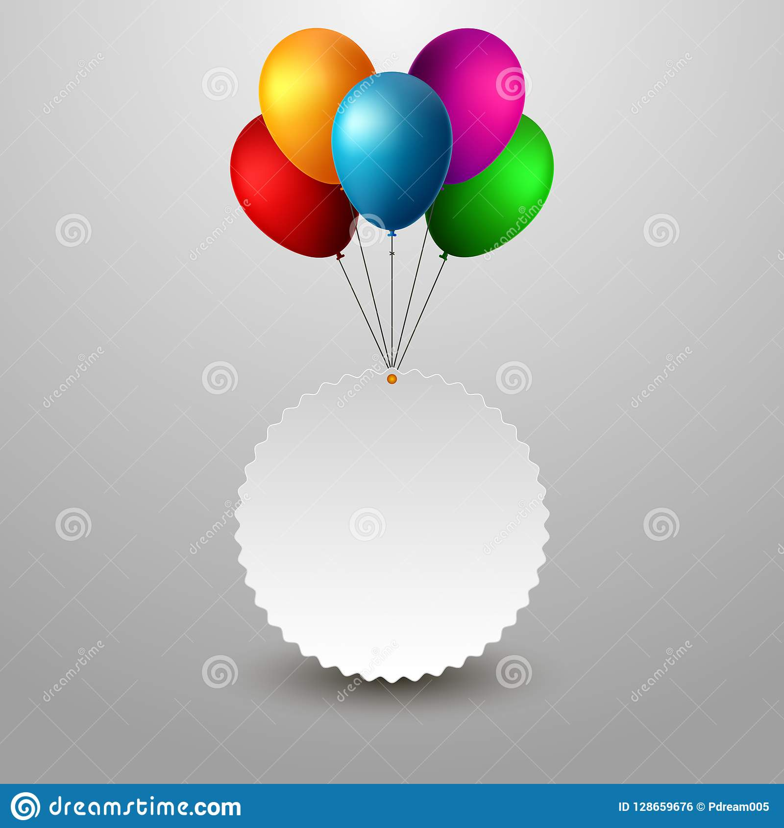 blank holiday birthday banner with balloons stock vector