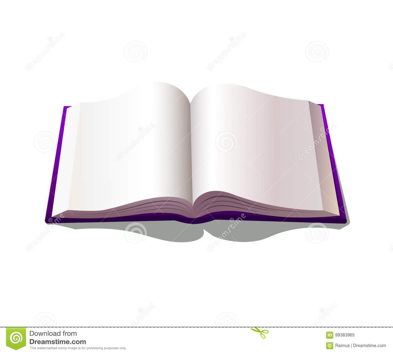 Illustration of blank opened book with purple cover.
