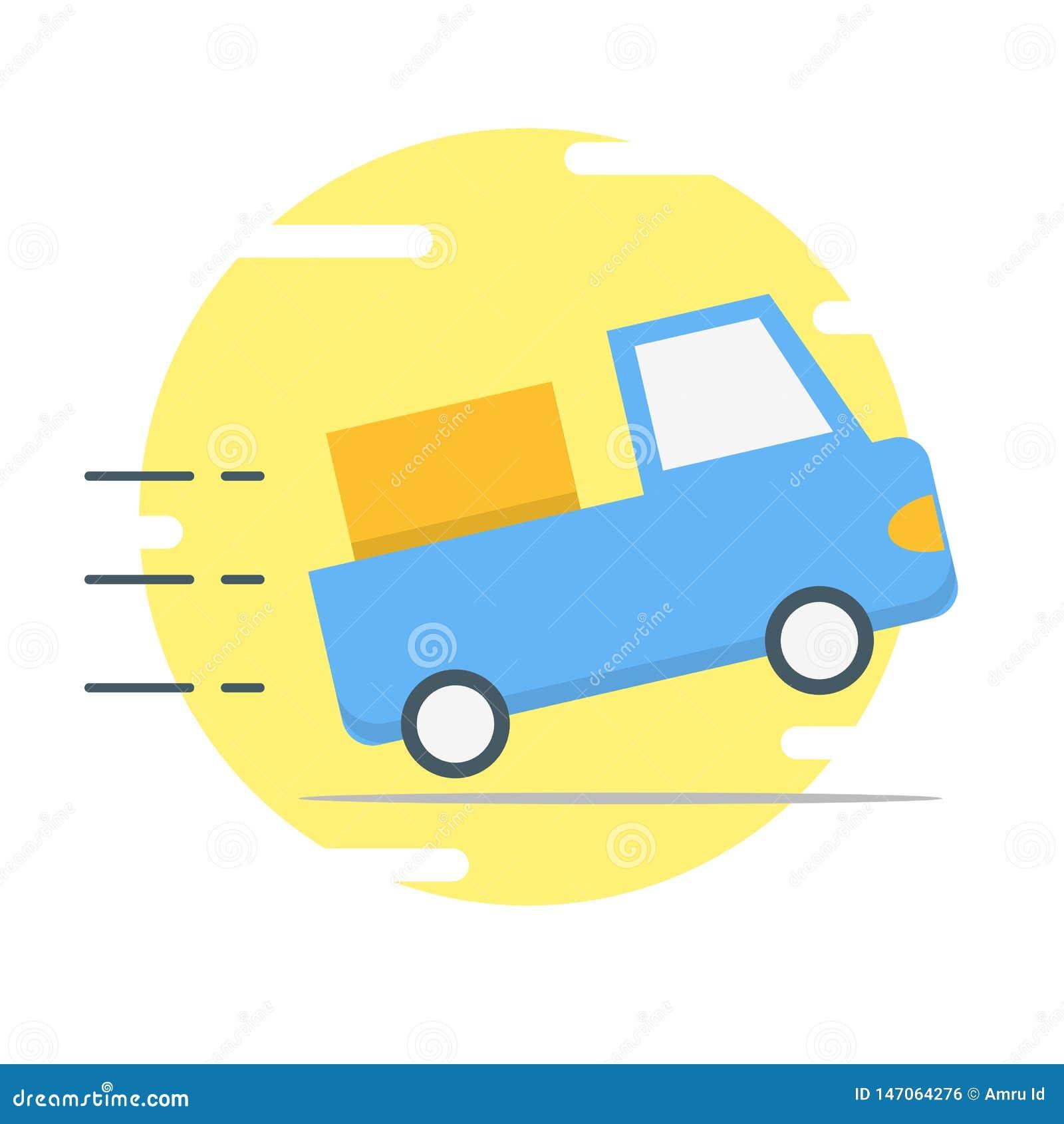 Illustration bleue de voiture de livraison - vecteur