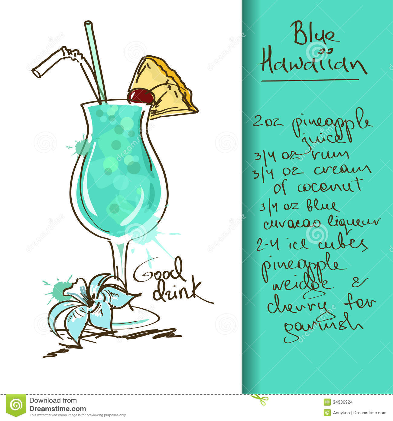 Illustration With Blue Hawaiian Cocktail Stock Images - Image ...