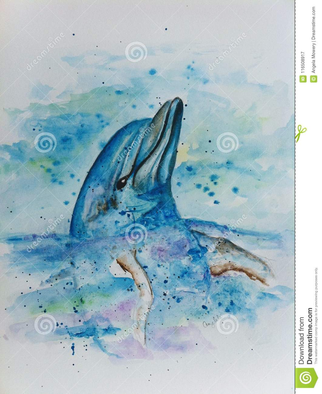 f0898a6ba38 Hand Painted Dolphin Watercolor Stock Illustration - Illustration of ...