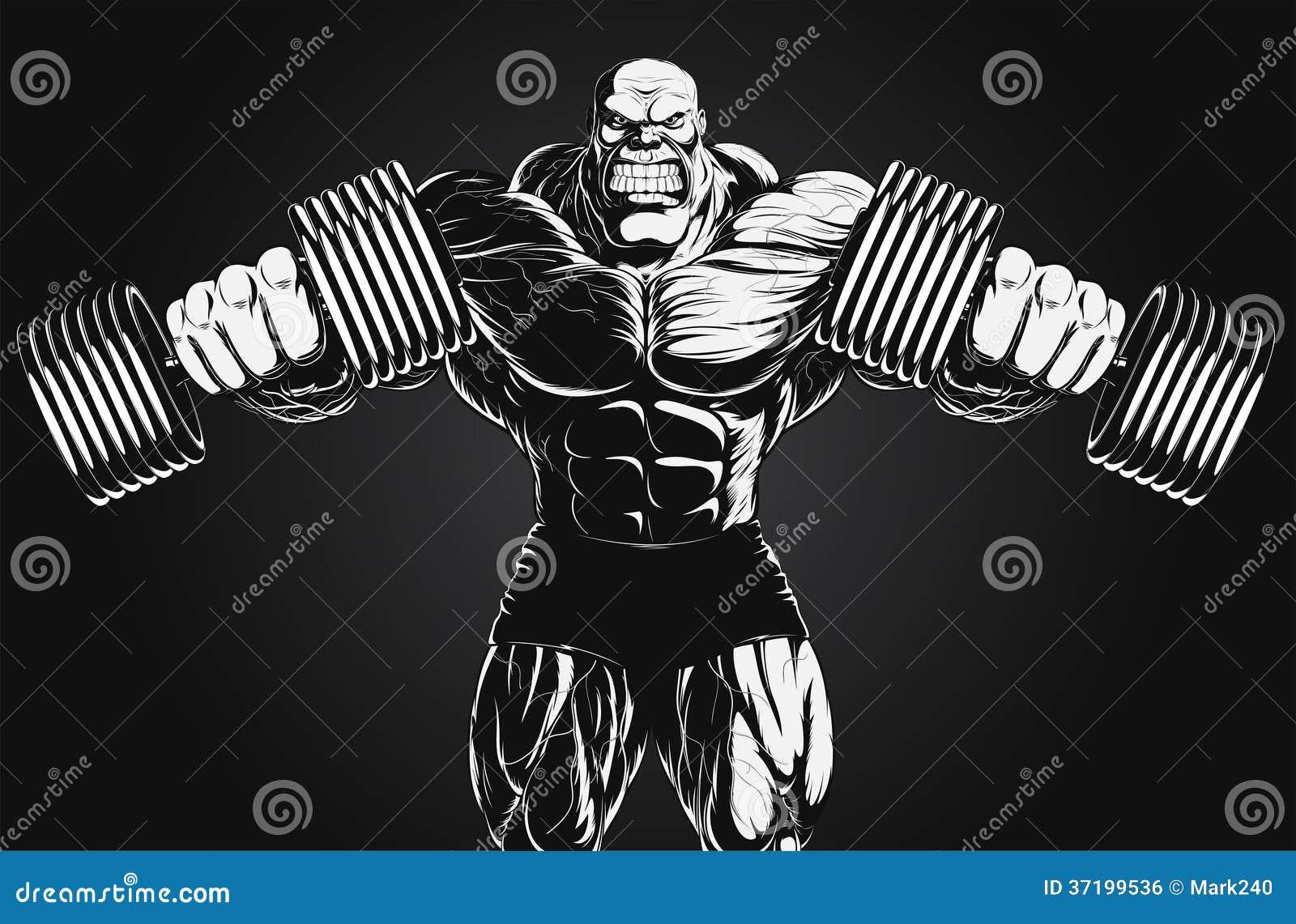 Illustration: Bodybuilder With Dumbbell Stock Vector