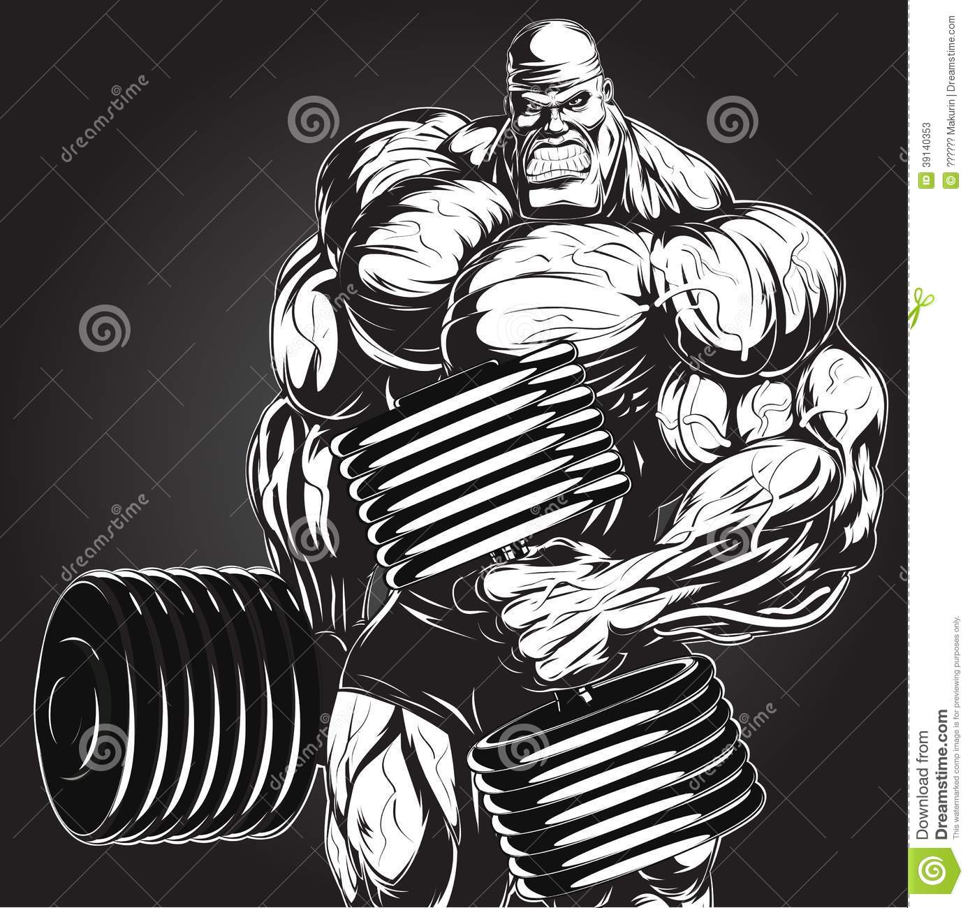 Illustration: Bodybuilder With Dumbbell Stock Vector - Image: 39140353