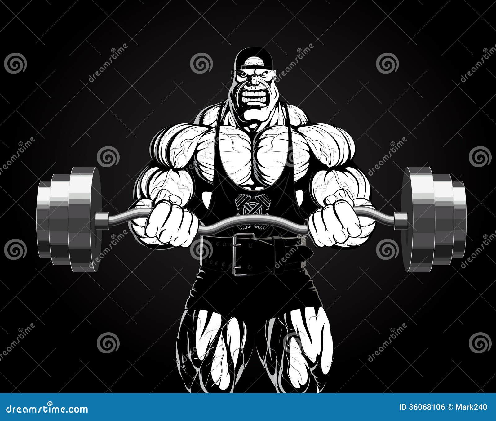 Illustration: Bodybuilder mit einem Barbell