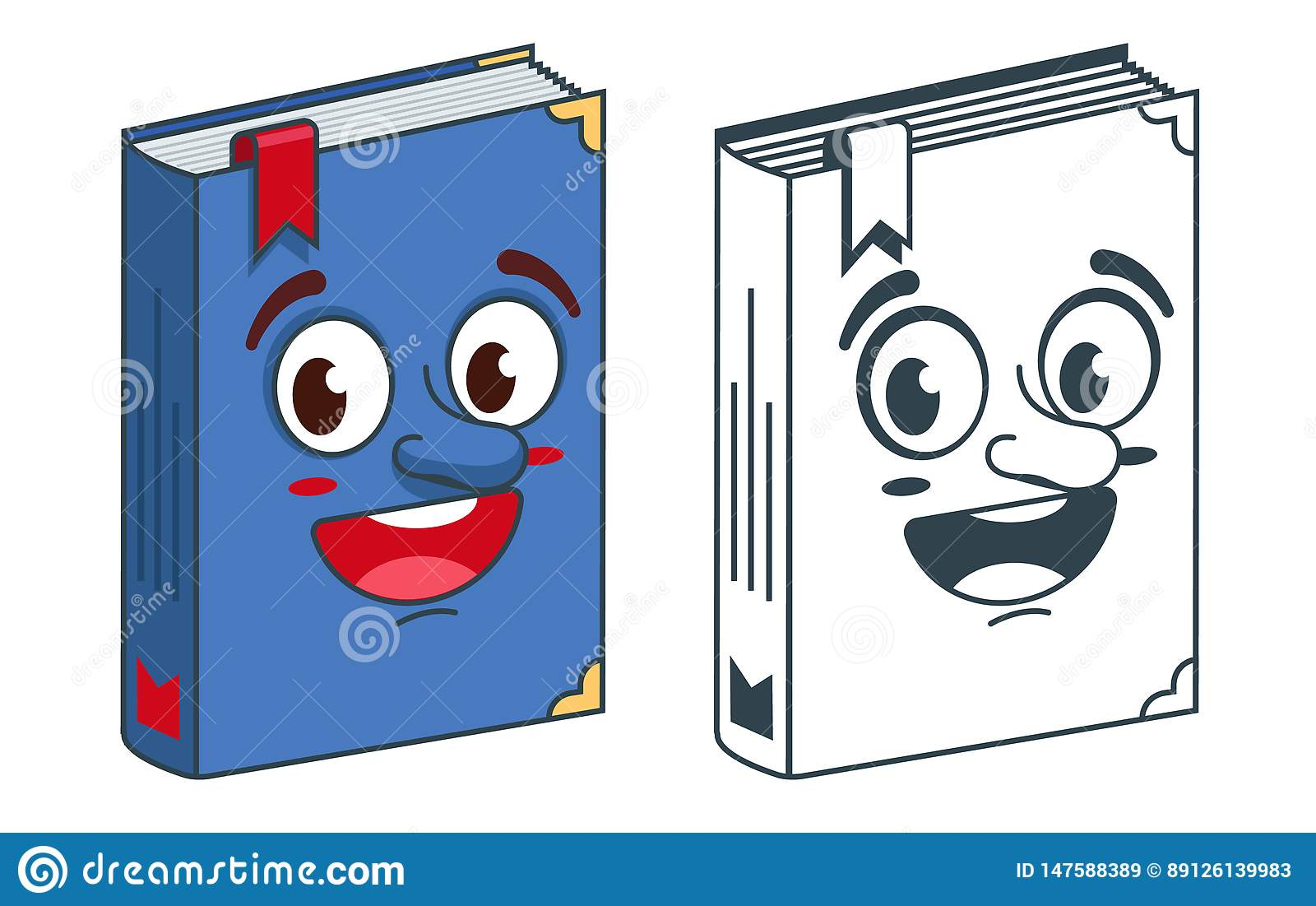 Book with bookmark. Coloring and bright drawing for coloring