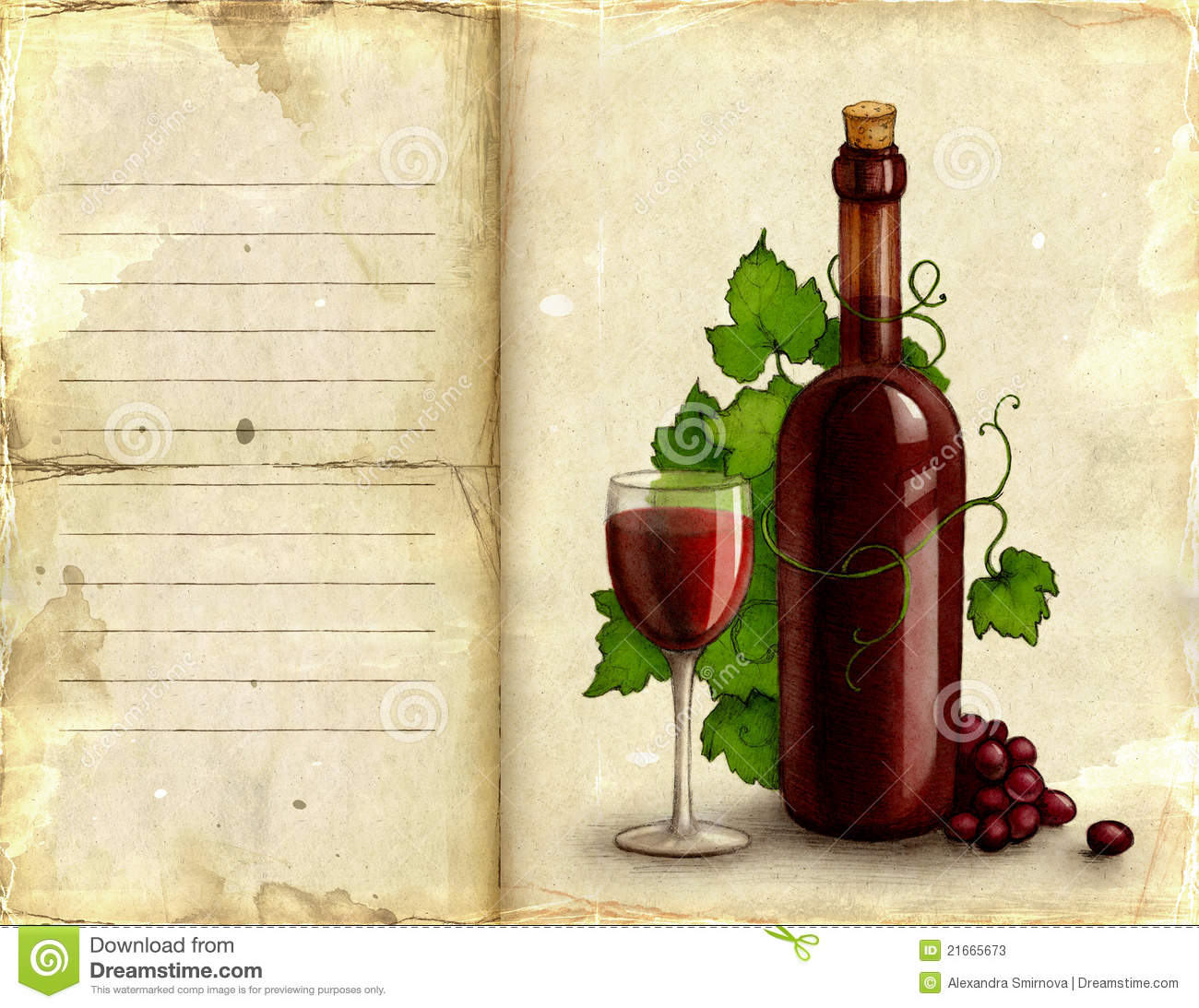 Illustration Of Bottle And Glass Of Wine Stock ...
