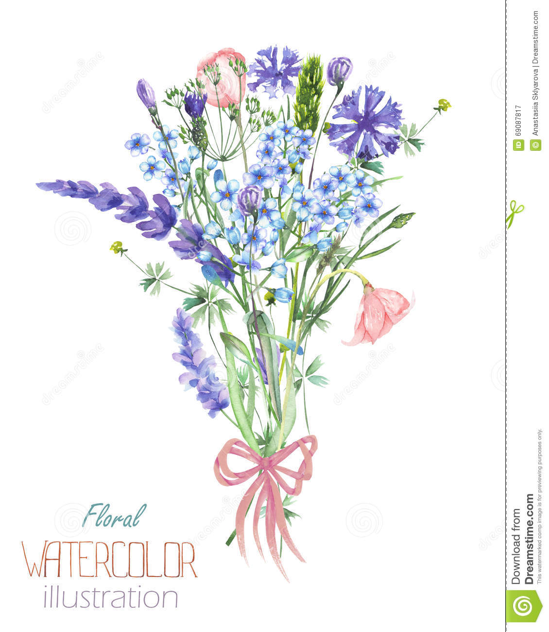 An Illustration With A Bouquet Of The Beautiful Watercolor