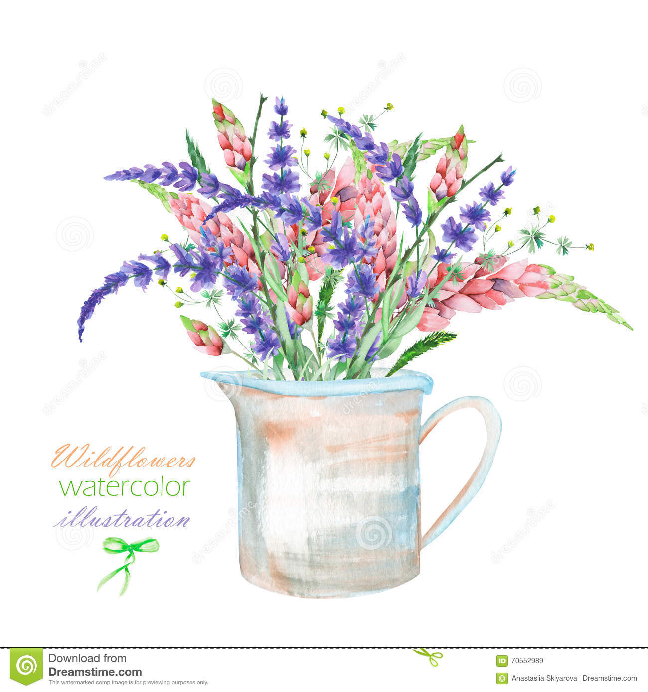 An illustration with a bouquet of the beautiful watercolor bright an illustration with a bouquet of the beautiful watercolor bright lupine flowers and lavender flowers in izmirmasajfo