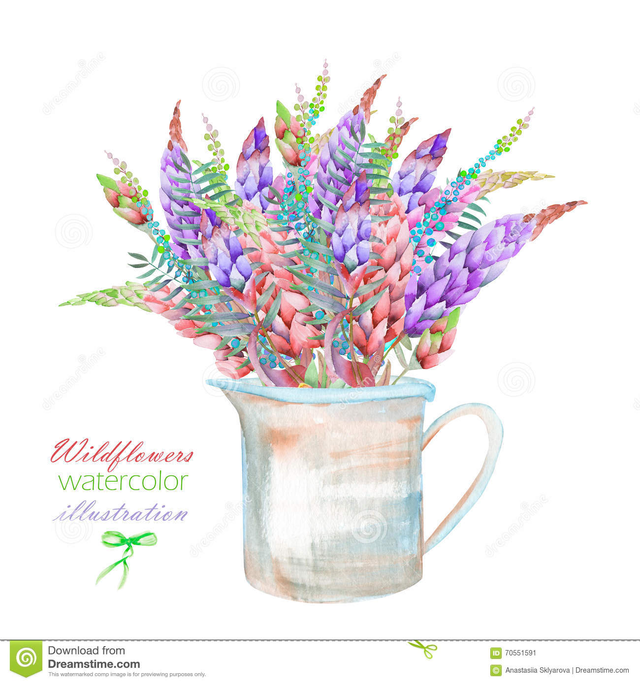 An illustration with a bouquet of the beautiful watercolor bright an illustration with a bouquet of the beautiful watercolor bright lupine flowers in a rustic jar izmirmasajfo