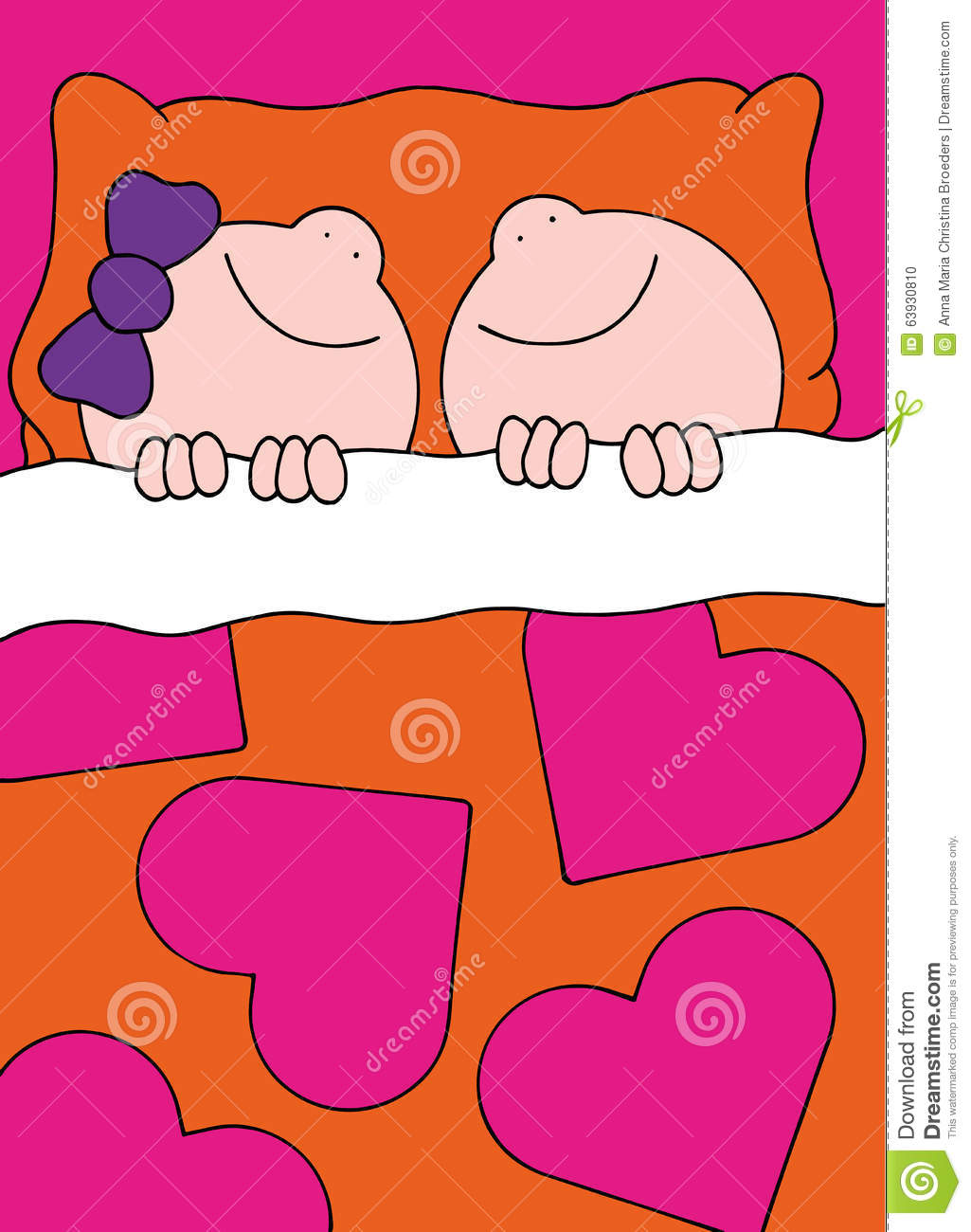 Illustration Boy And Girl Sleeping In Bed Stock Vector