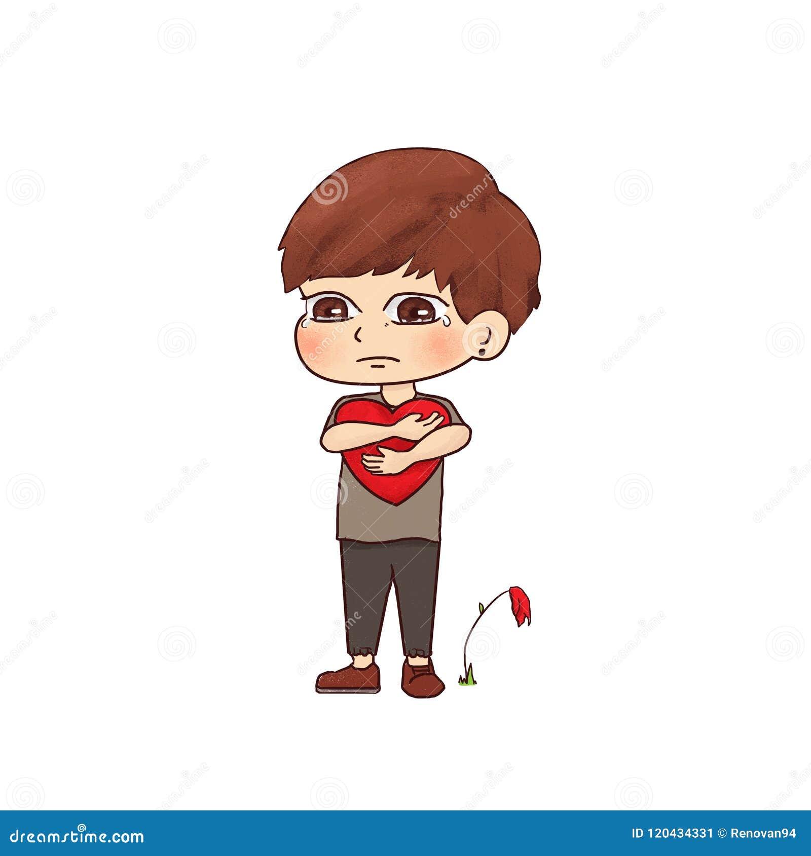 Illustration A Boy Is Heartbroken Hand Drawn Cartoon Character Art