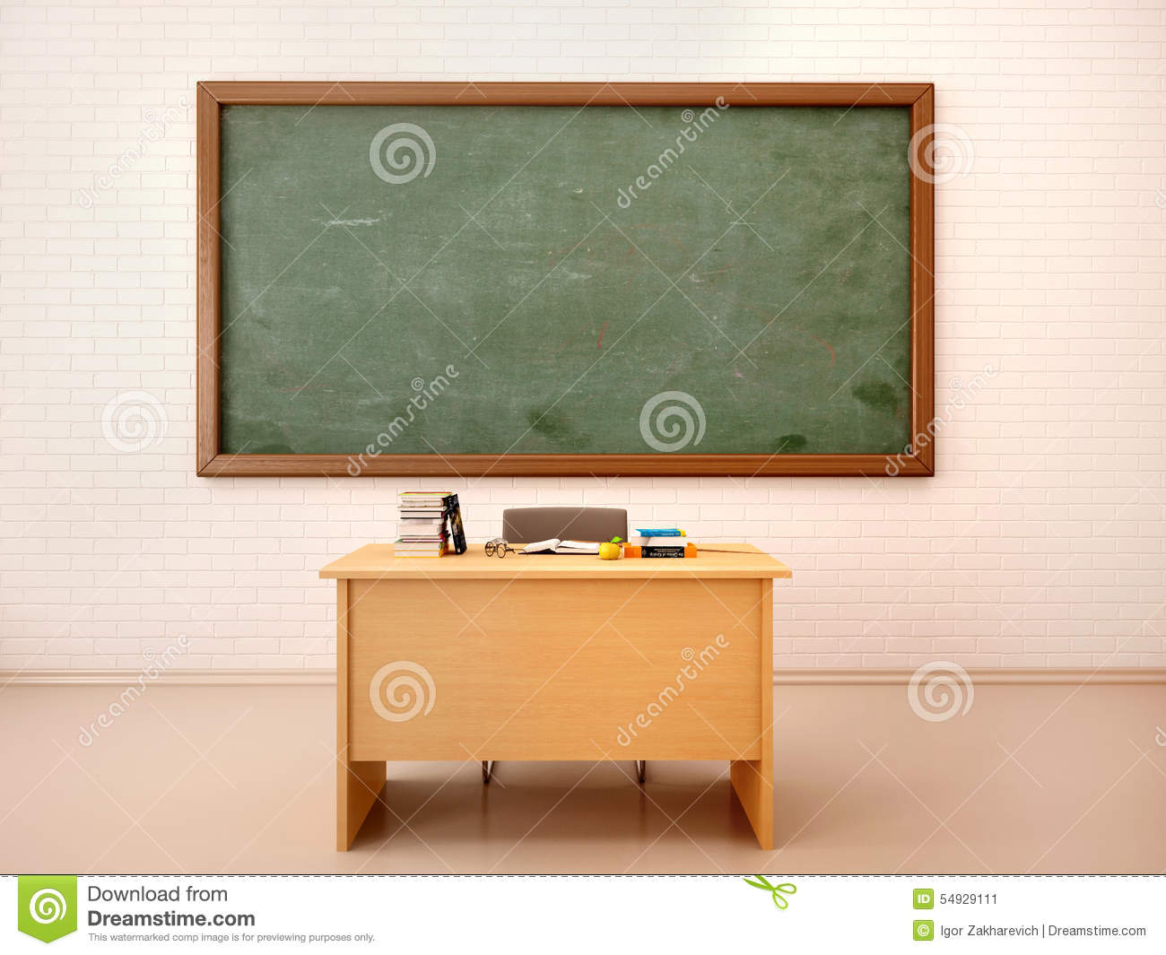 Illustration Of Bright Empty Classroom With Blackboard And