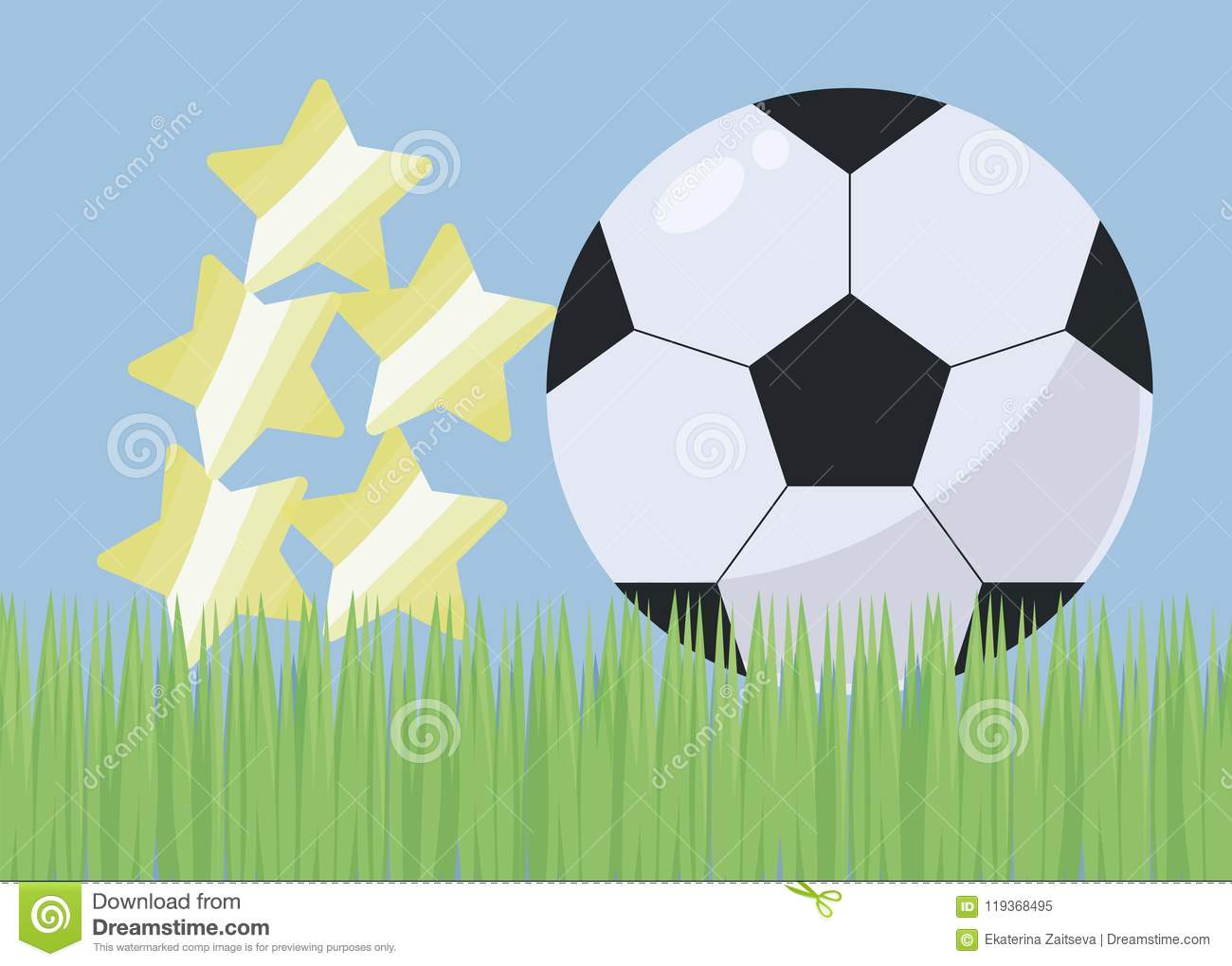 Soccer Football On Green Field With Blue Sky Background: Illustration With Bright Green Grass Football Field Blue
