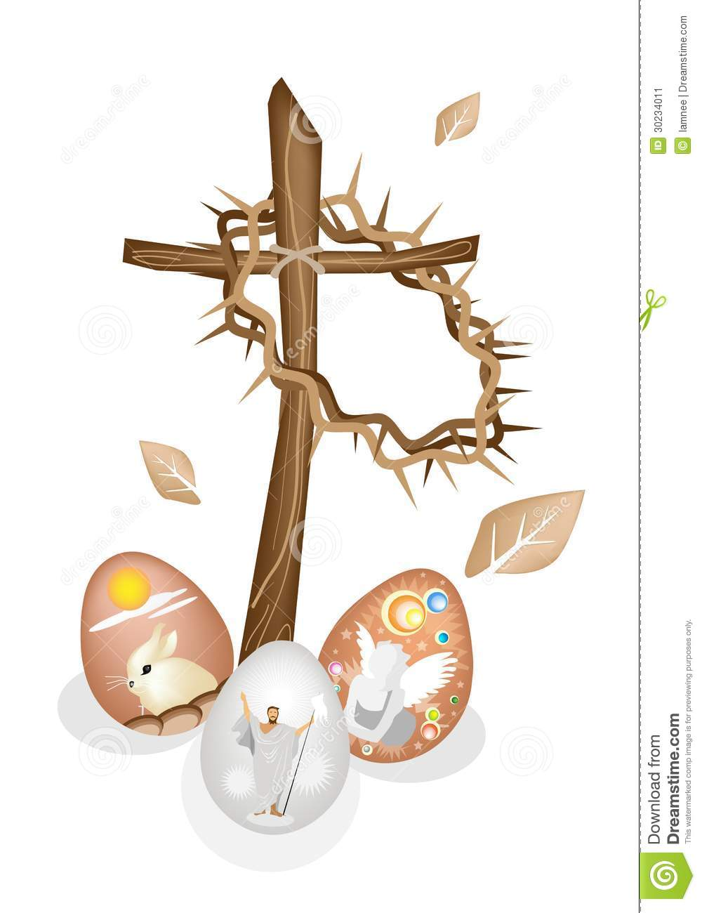 Wooden Cross And A Crown Of Thorns With Easter Egg Stock ... Easter Eggs Jesus