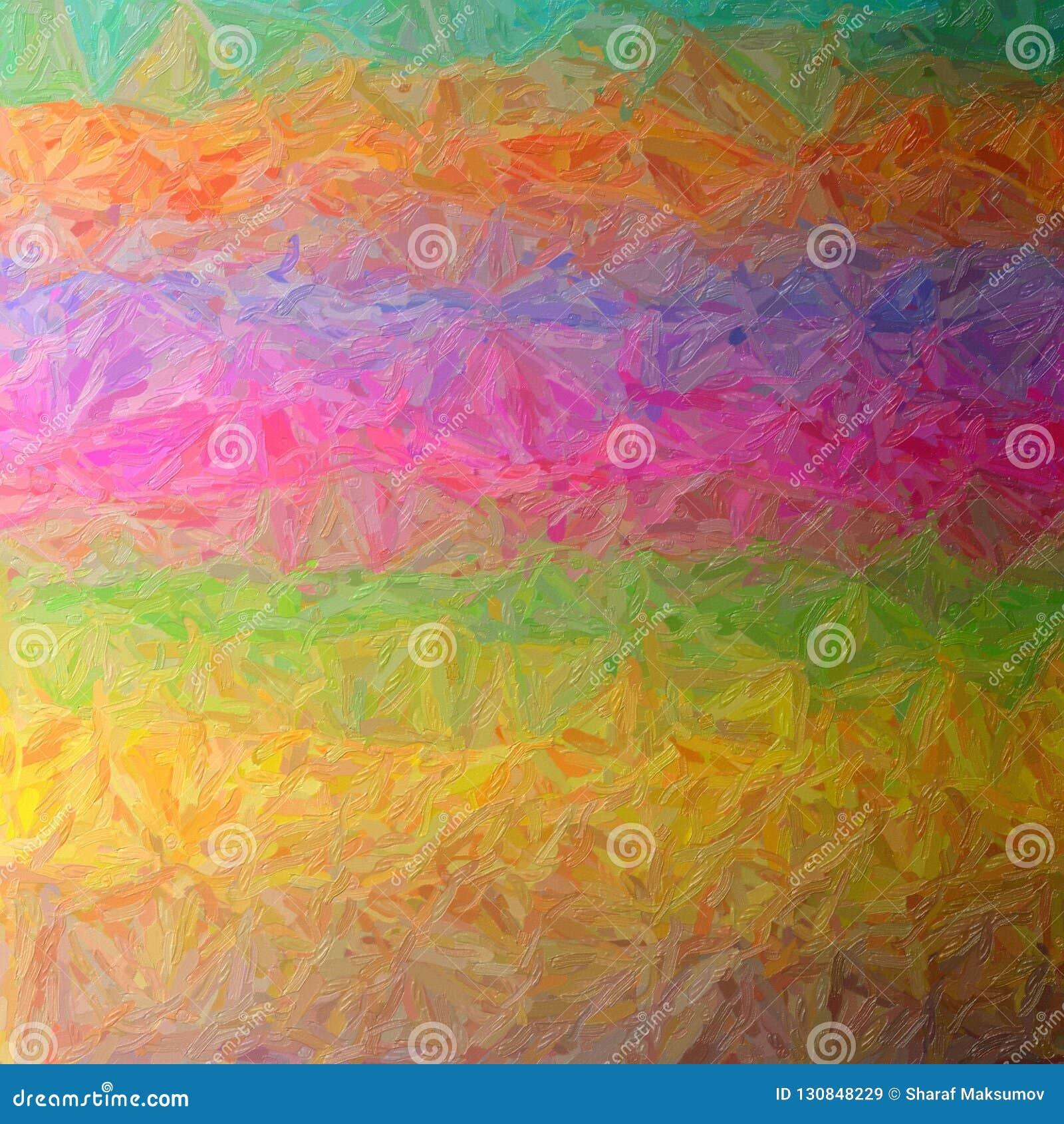 Illustration of brown, green, magenta, blue and orange large color variation impasto square background.