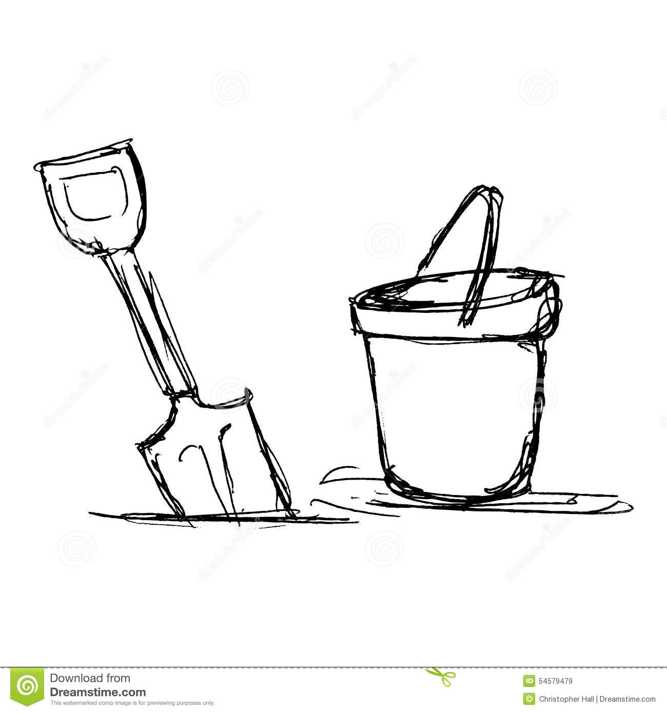 Hand drawn illustration of a bucket and spade