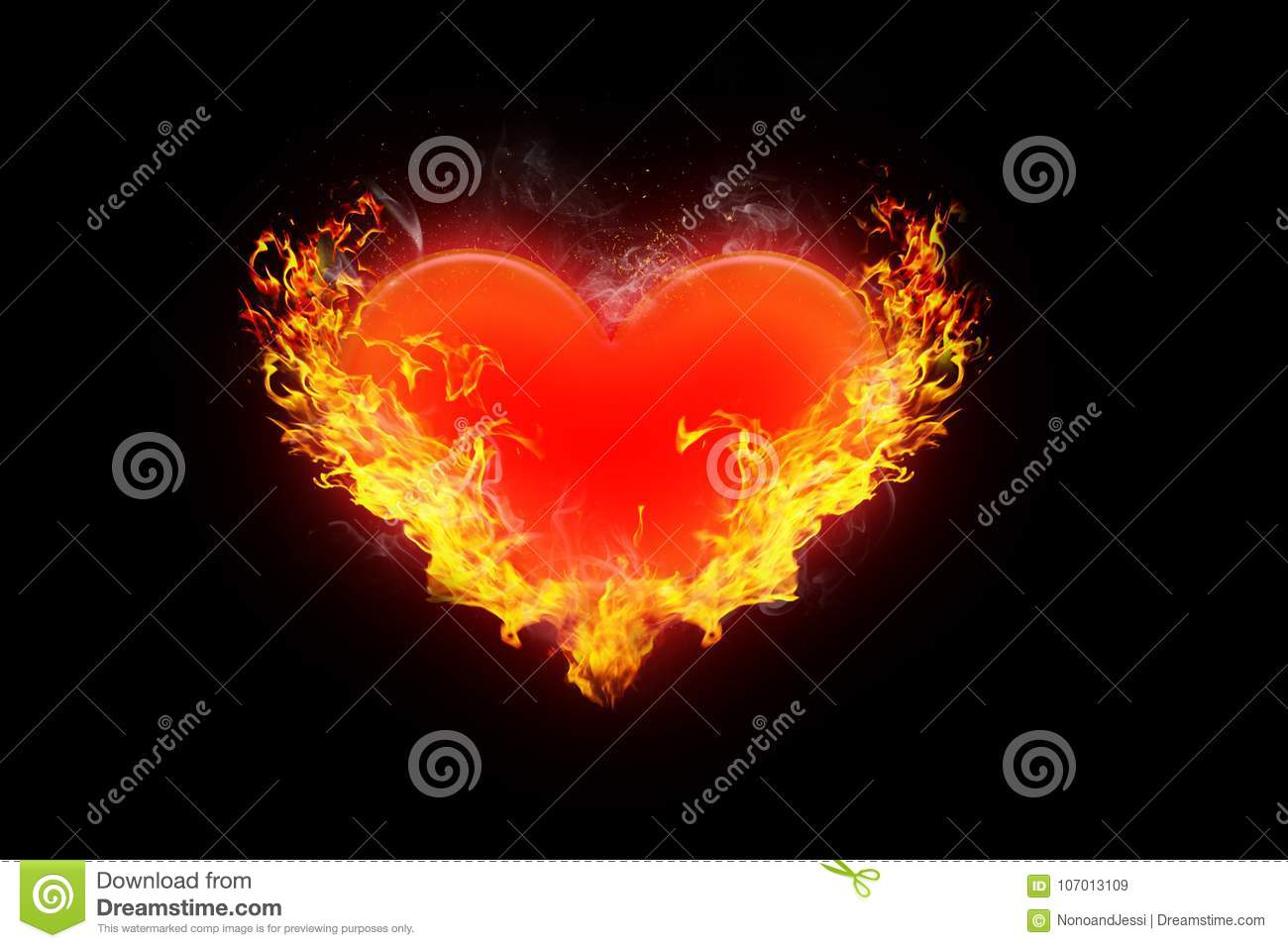 Illustration of Burning red heart surrounded by orange flames on a conceptual black background of love, romance and valentine