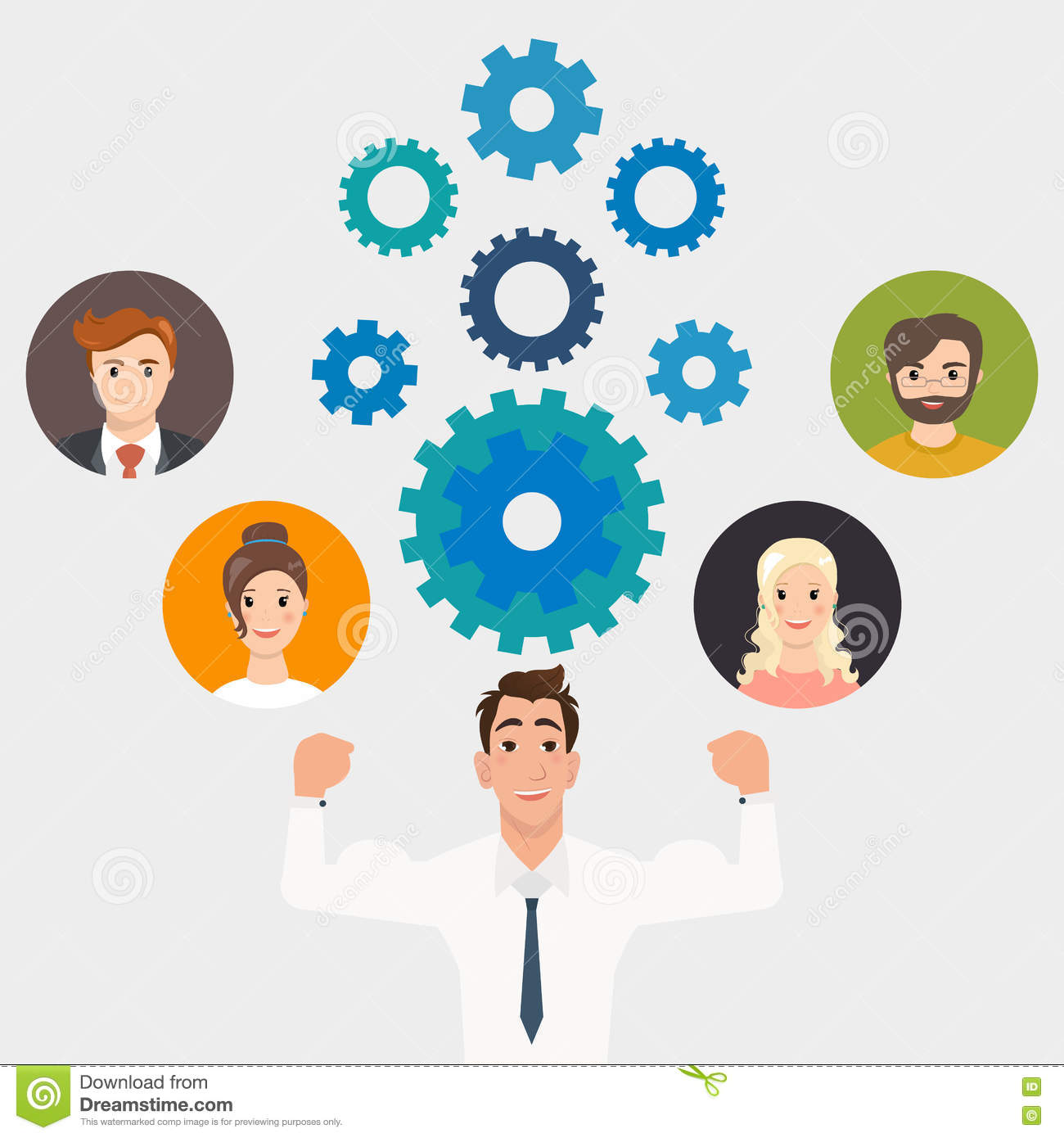 Illustration Of Business People And Gears Teamwork Stock