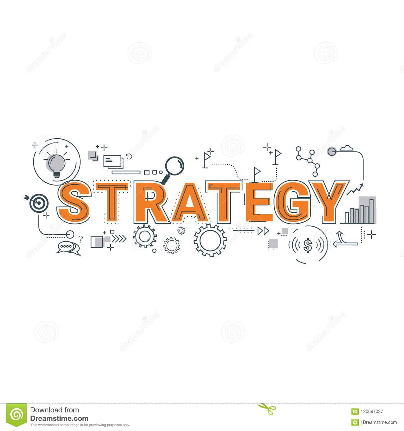 illustration of business strategy wording concept stock