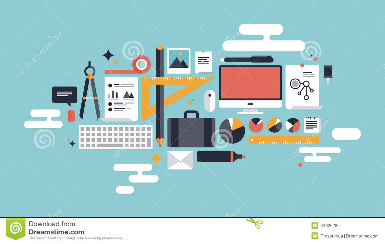 Illustration of business working elements stock vector for Home design website free