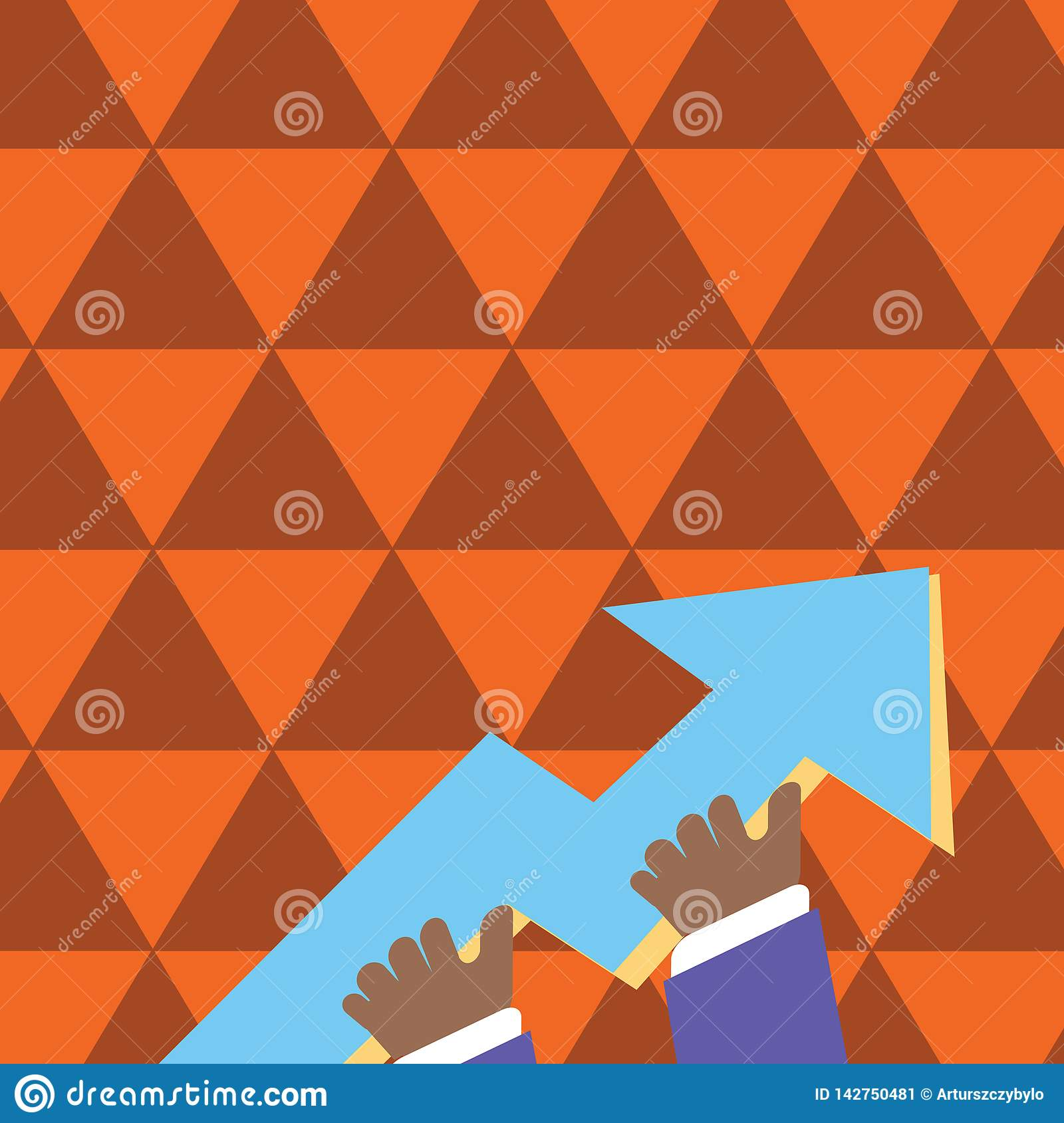 Illustration of Businessman Hand Holding Colorful Huge 3D Arrow Pointing and Going Up. Creative Background Concept for