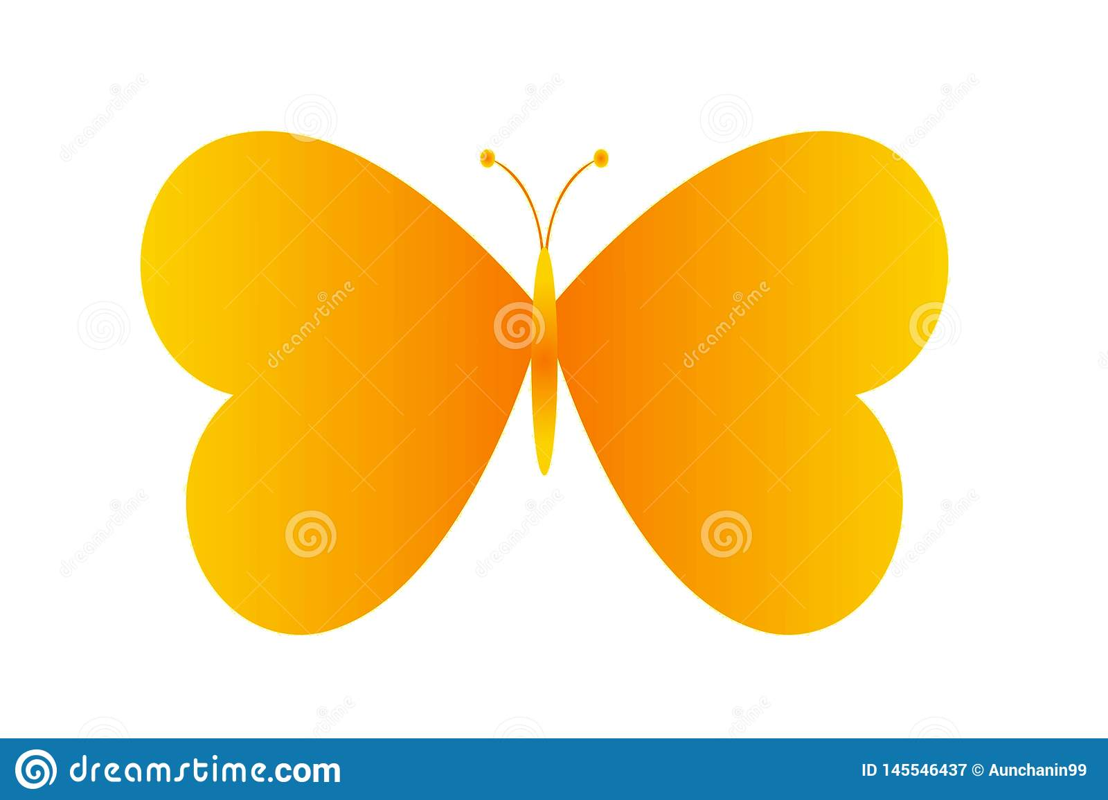 Illustration of butterfly logo on white background