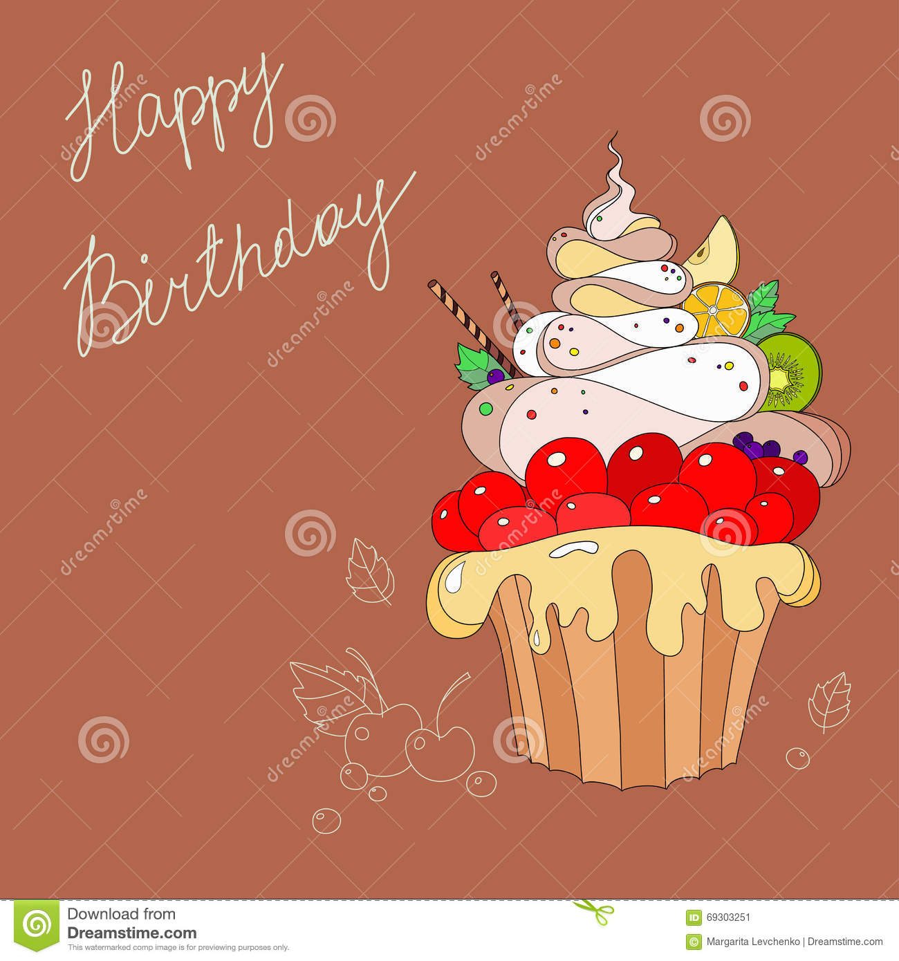 Illustration Of Cakes With Happy Birthday Stock Illustration