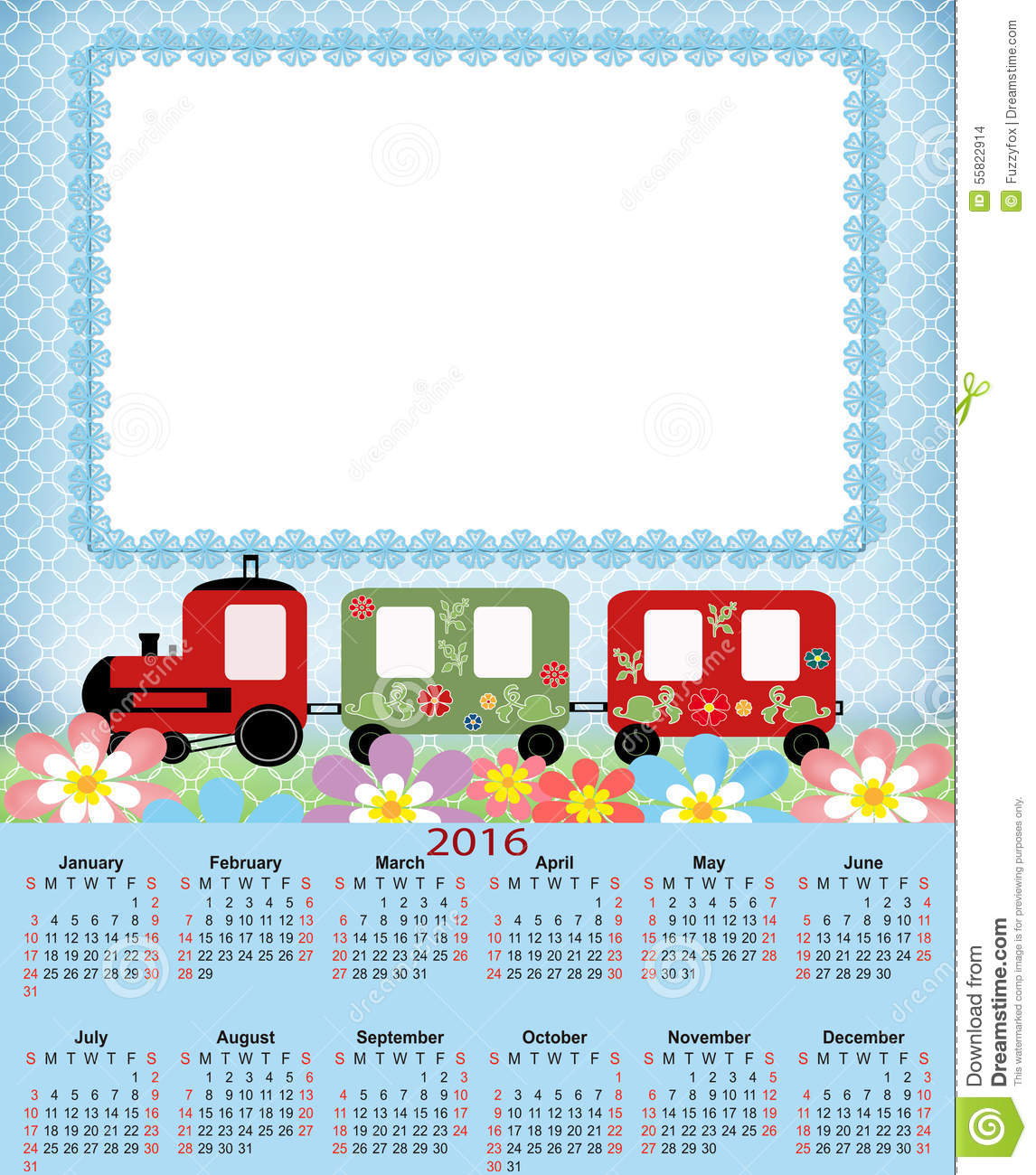 Kids Calendar Design : Illustration calendar for in kids design stock