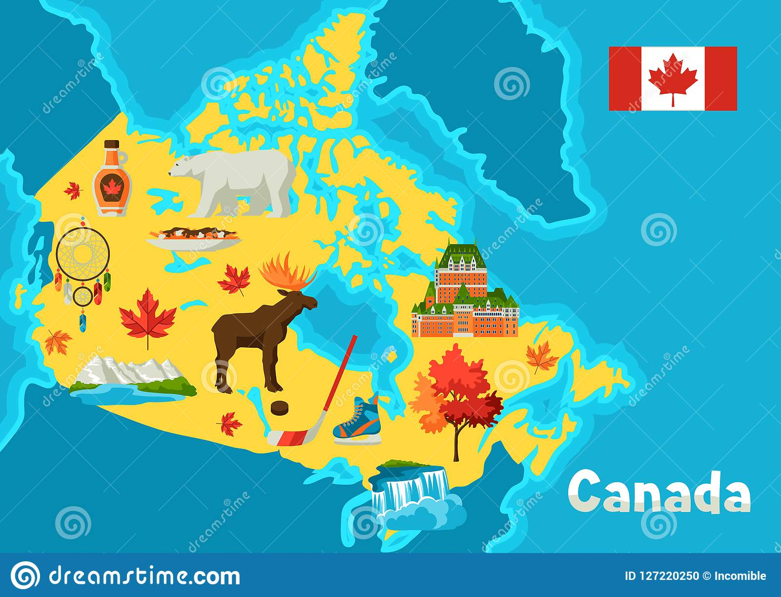 Map Of Canada Mountains.Illustration Of Canada Map Stock Vector Illustration Of
