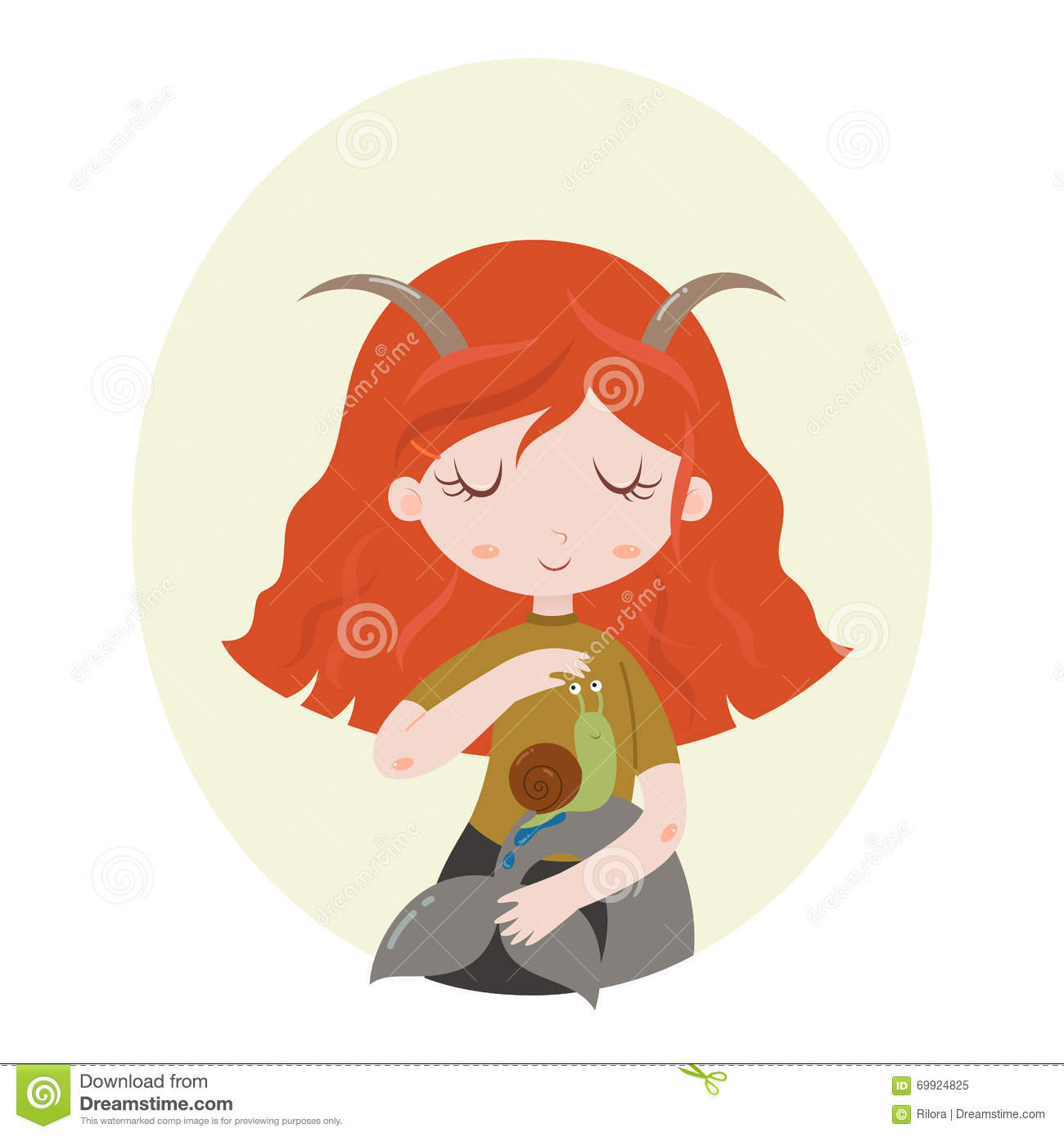 illustration of capricorn astrological sign as a beautiful girl  vector art  stock vector