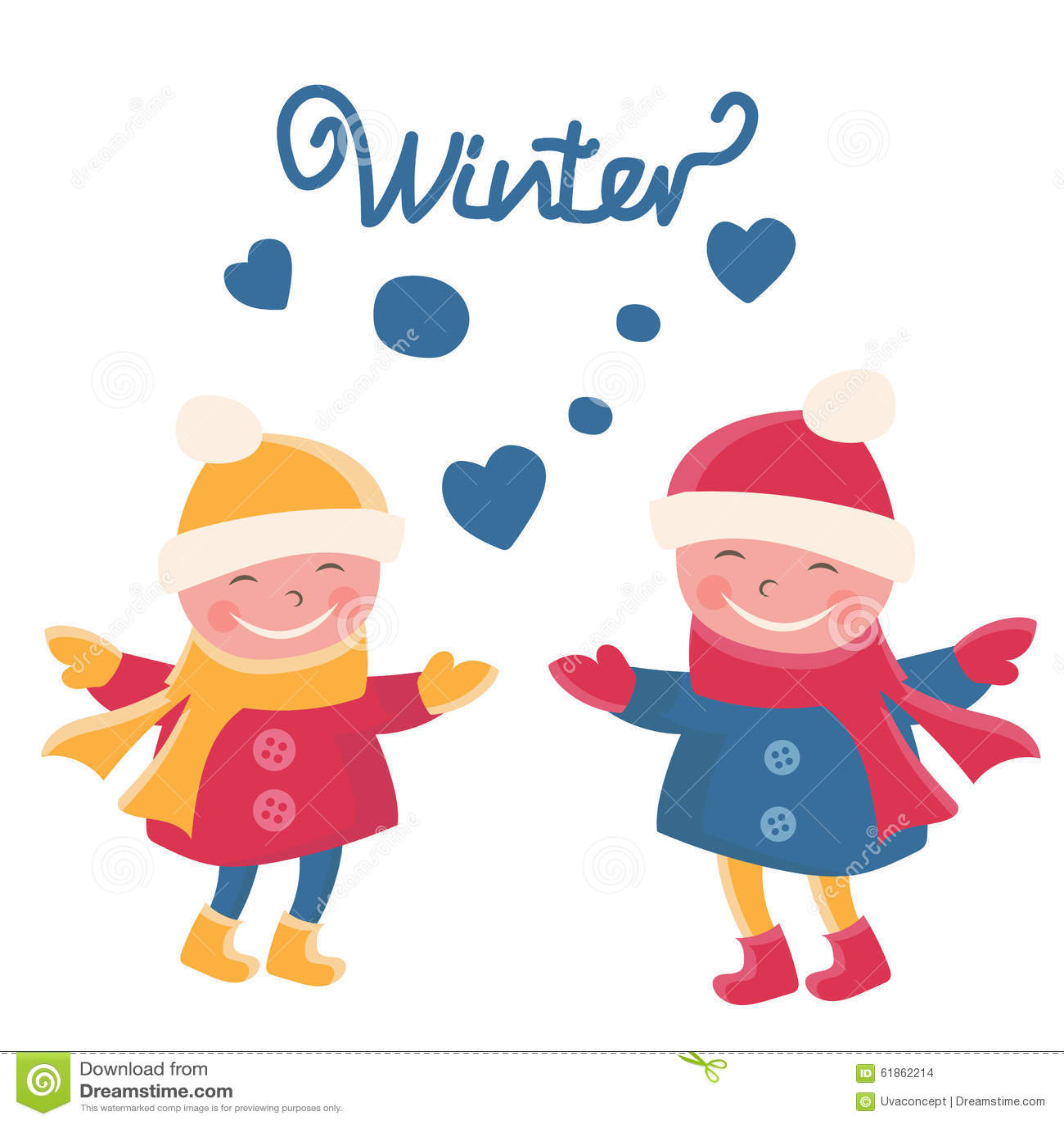 c04f995c977d Illustration Cartoon Doodle Girls In Winter Stock Vector ...