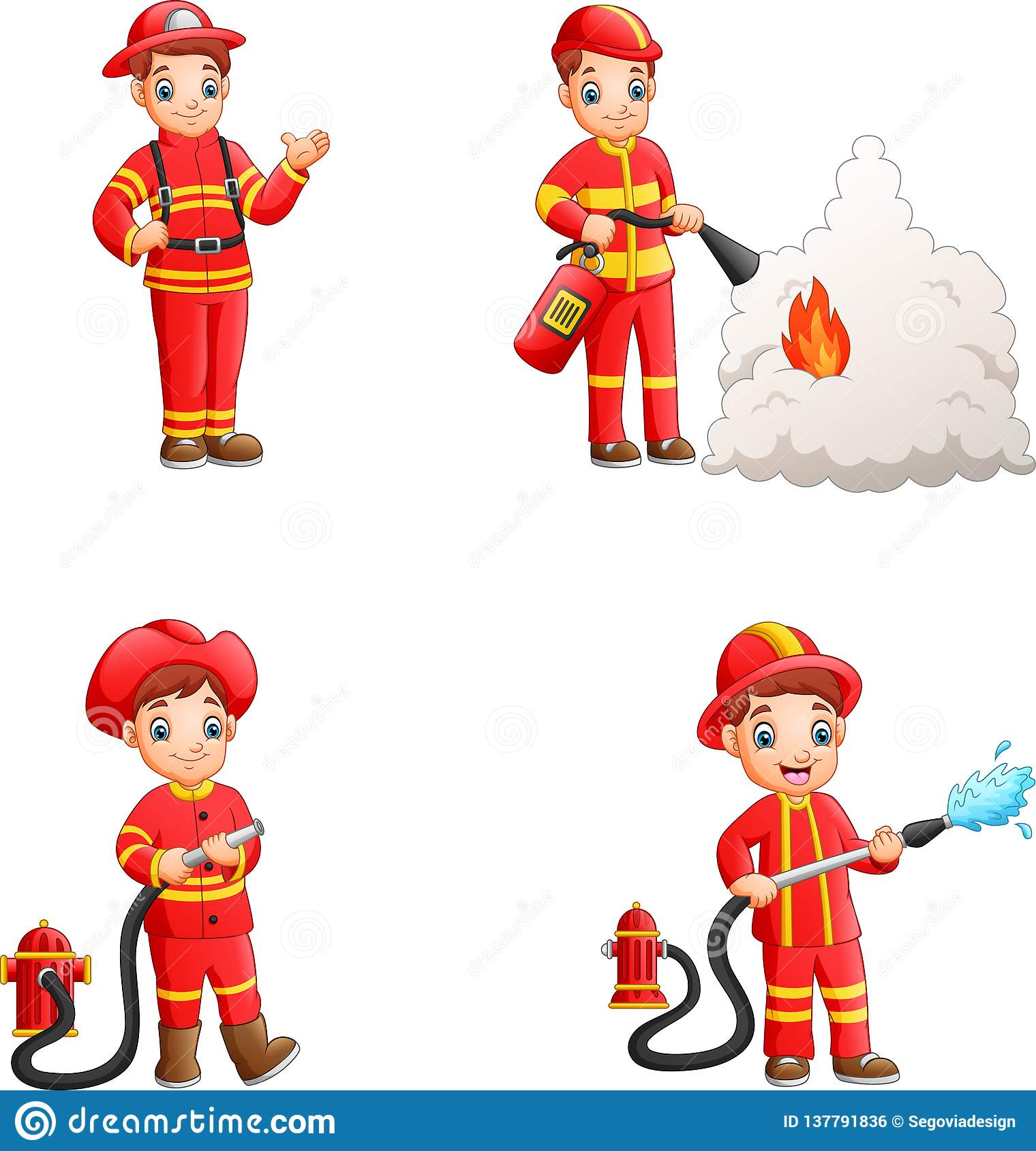 Cartoon firefighters collection with different action poses
