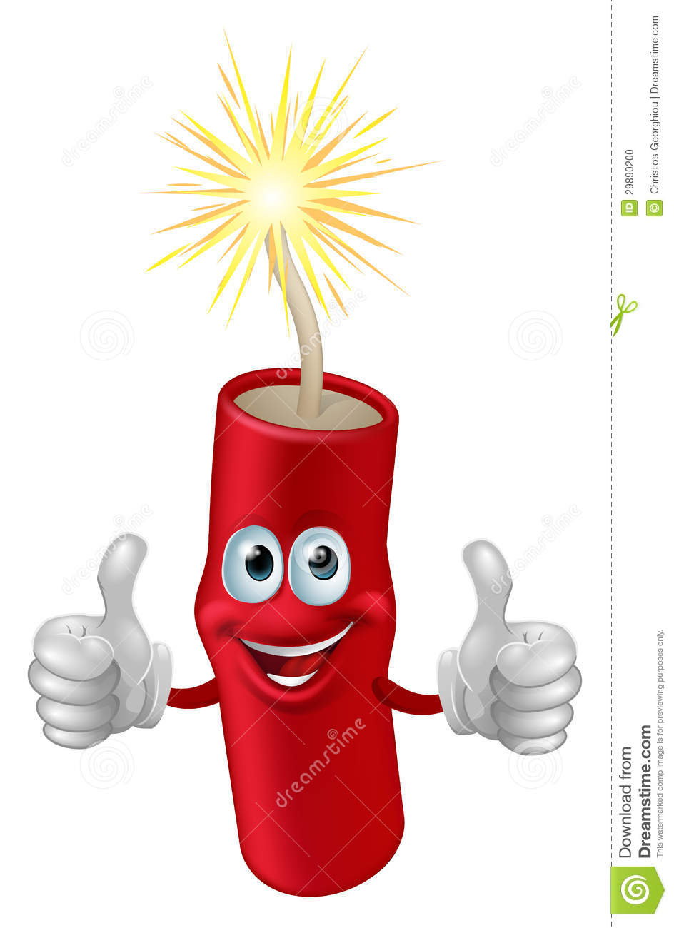 Illustration of a cartoon firework, firecracker or dynamite character.
