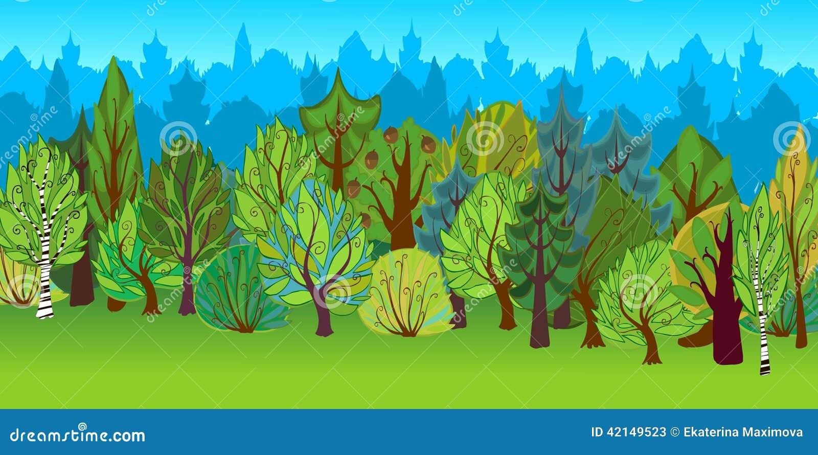 The Illustration Of Cartoon Forest. Stock Illustration ...