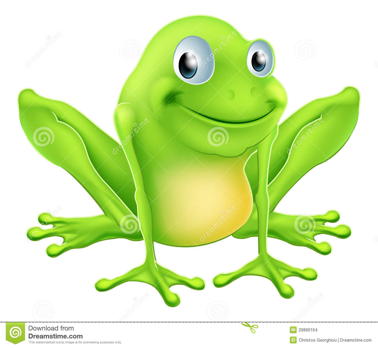An illustration of a cartoon frog character sitting and smiling. Superhero Flying Vector