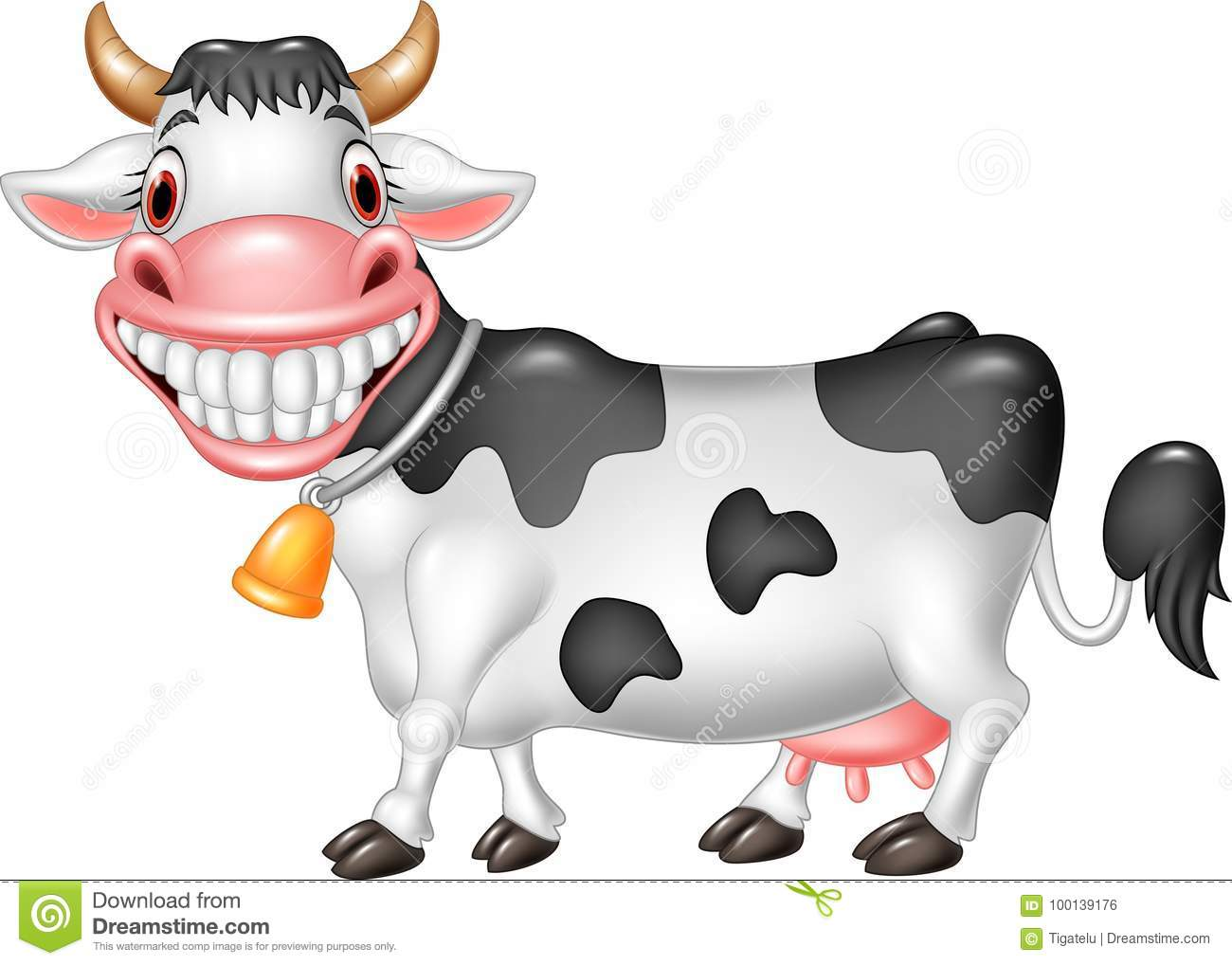 Cartoon Happy Cow Isolated On White Background Stock Vector Illustration Of Bell Cartoon 100139176