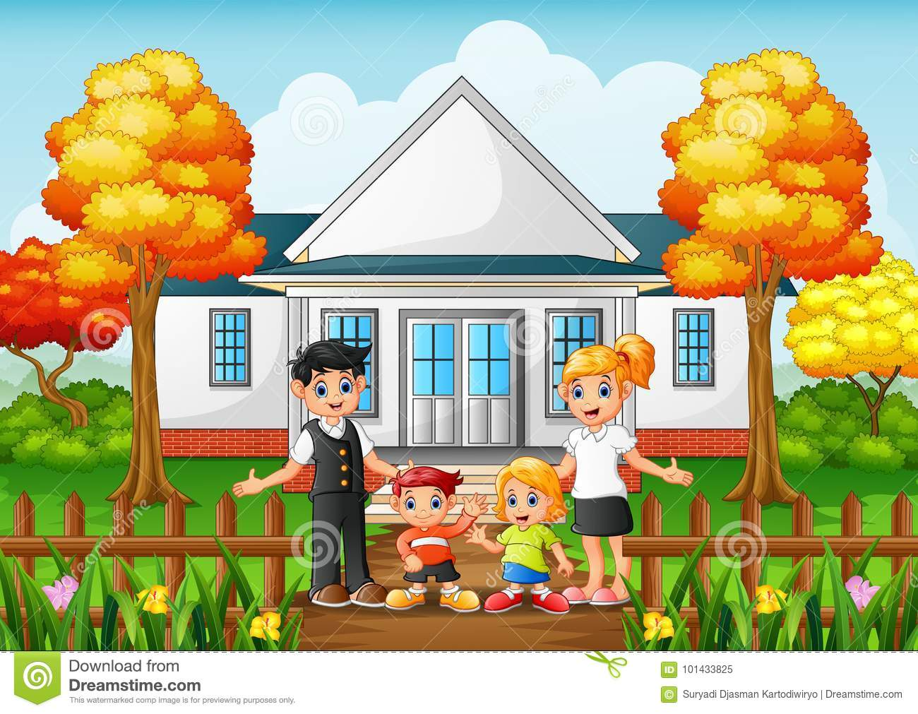 Cartoon Happy Family In The Front Yard Of The House Stock ...