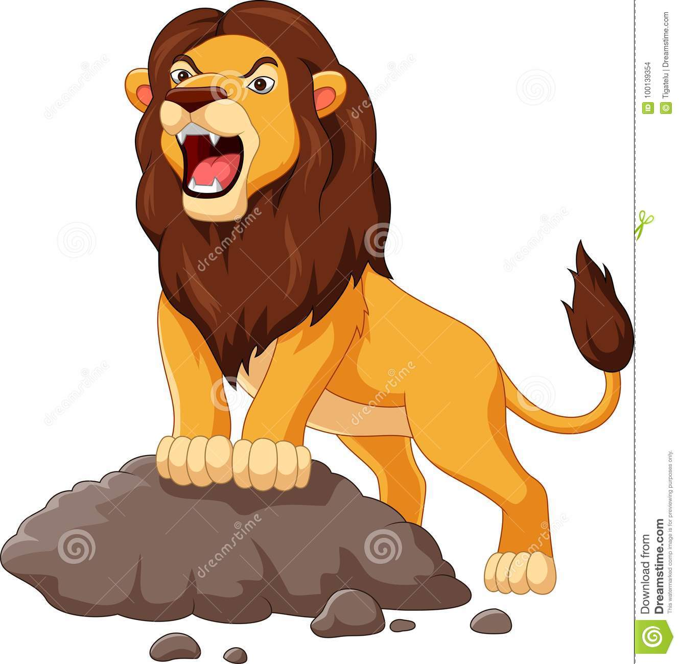 Cartoon Lion Roaring Isolated On White Background Stock Vector
