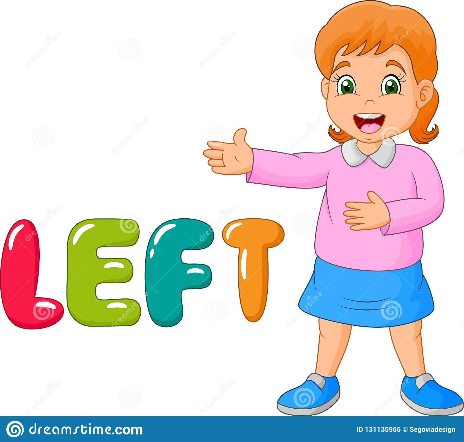 Cartoon little girl pointing to his left with the left word