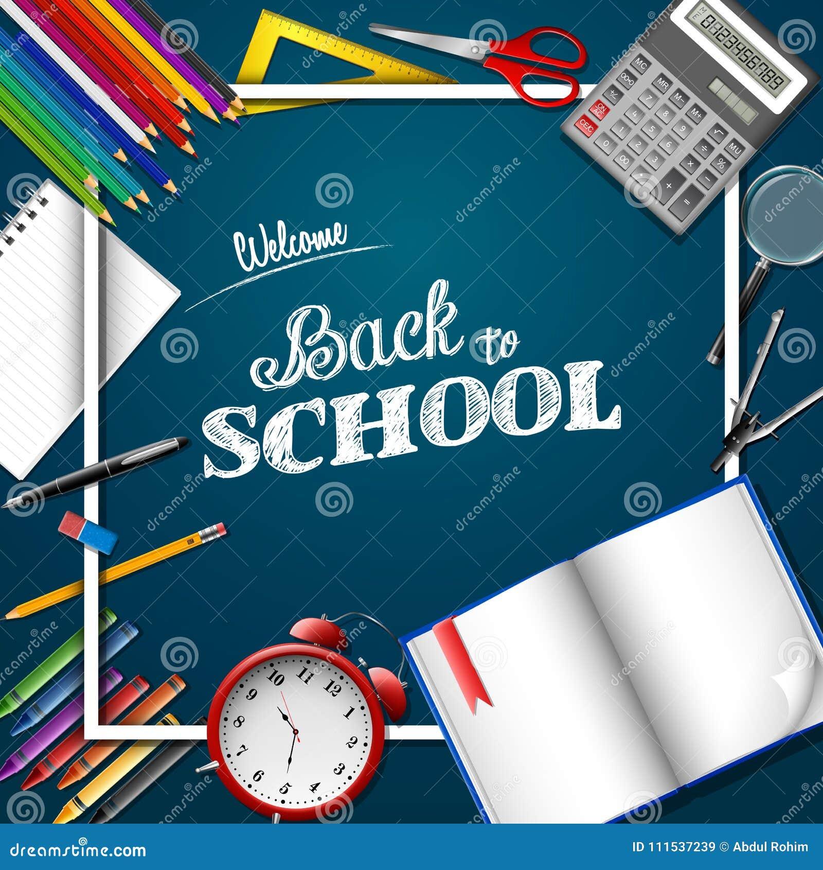 Cartoon School Supplies On Chalkboard Background Stock Vector ...