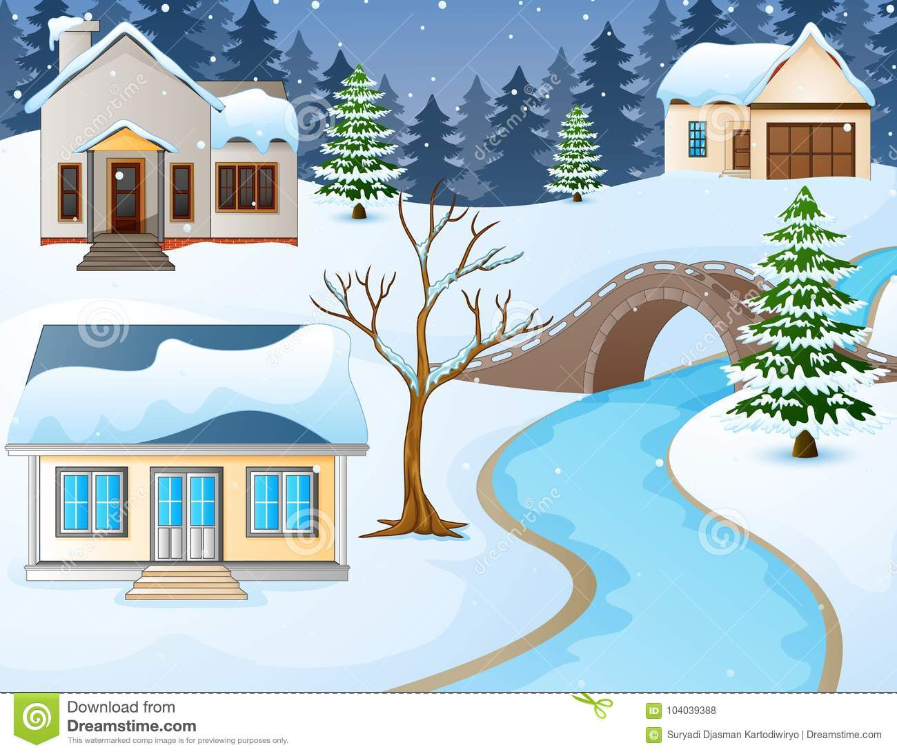 Download Cartoon Winter Rural Landscape With Houses And Stone Bridge Over River Stock Vector - Illustration of home, house: 104039388