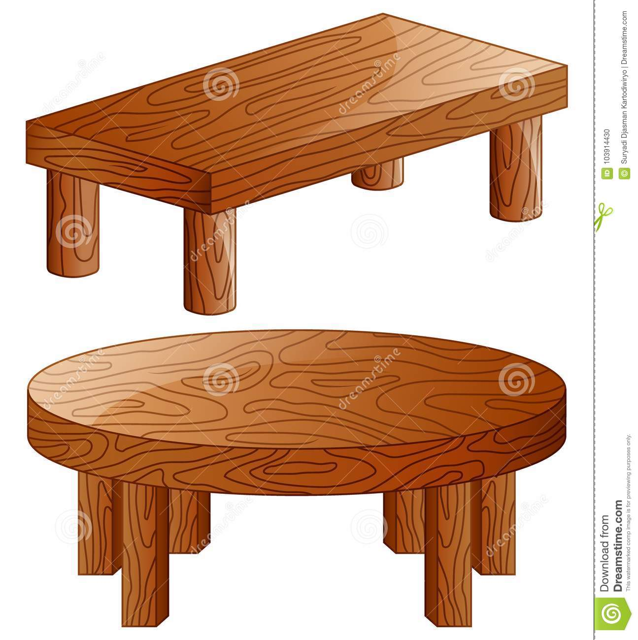 Download Cartoon Wooden Tables On White Background Stock Vector    Illustration Of Dining, Brown:
