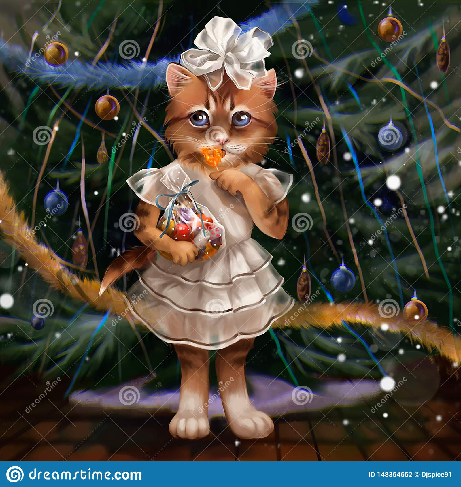 Illustration of a cat at the Christmas tree