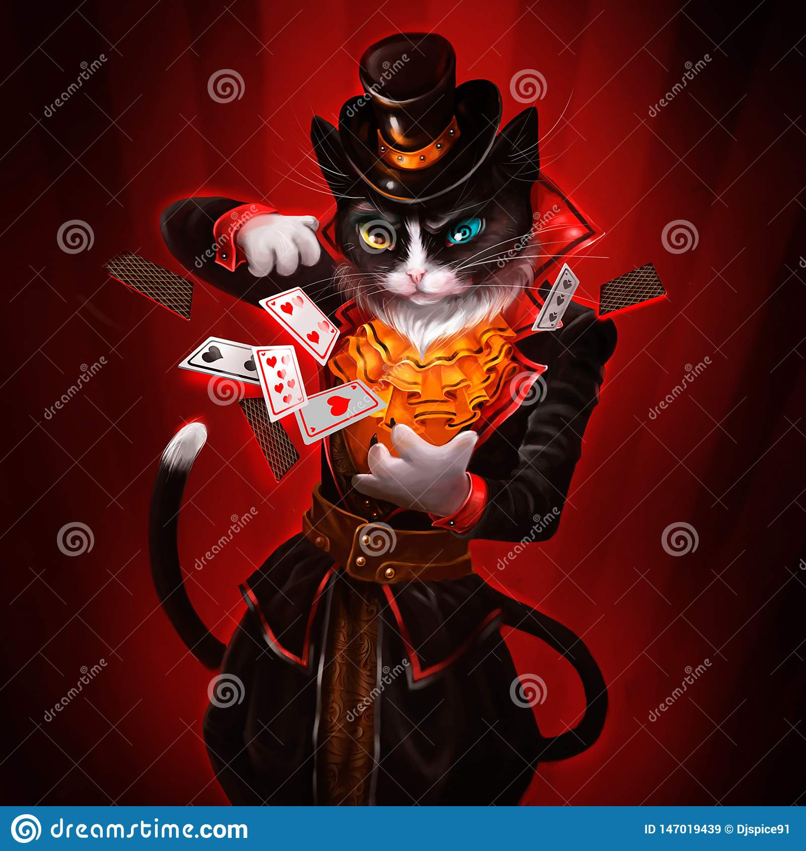 Illustration of a cat with playing cards