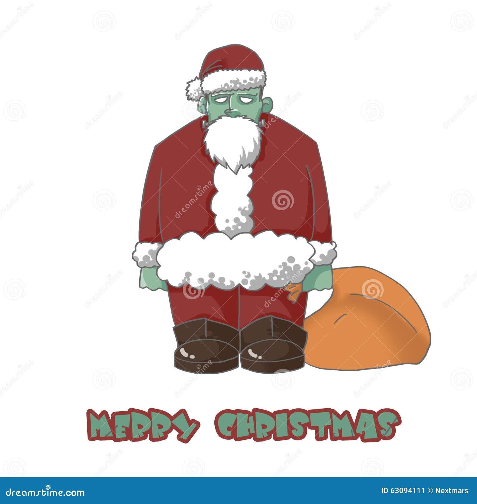 Christmas Zombie Santa.Illustration Character The Zombie Santa Wish You Merry