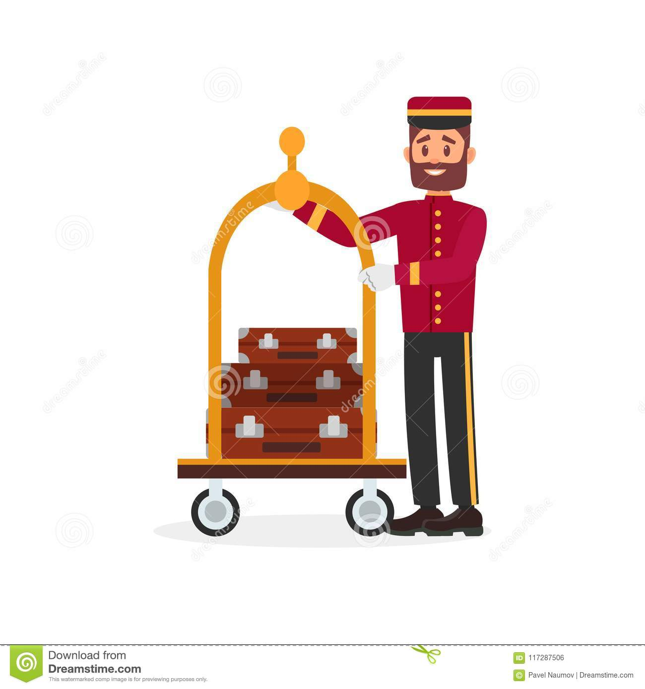 Cheerful bellboy and trolley with luggage. Young bearded guy in uniform. Colorful flat vector design