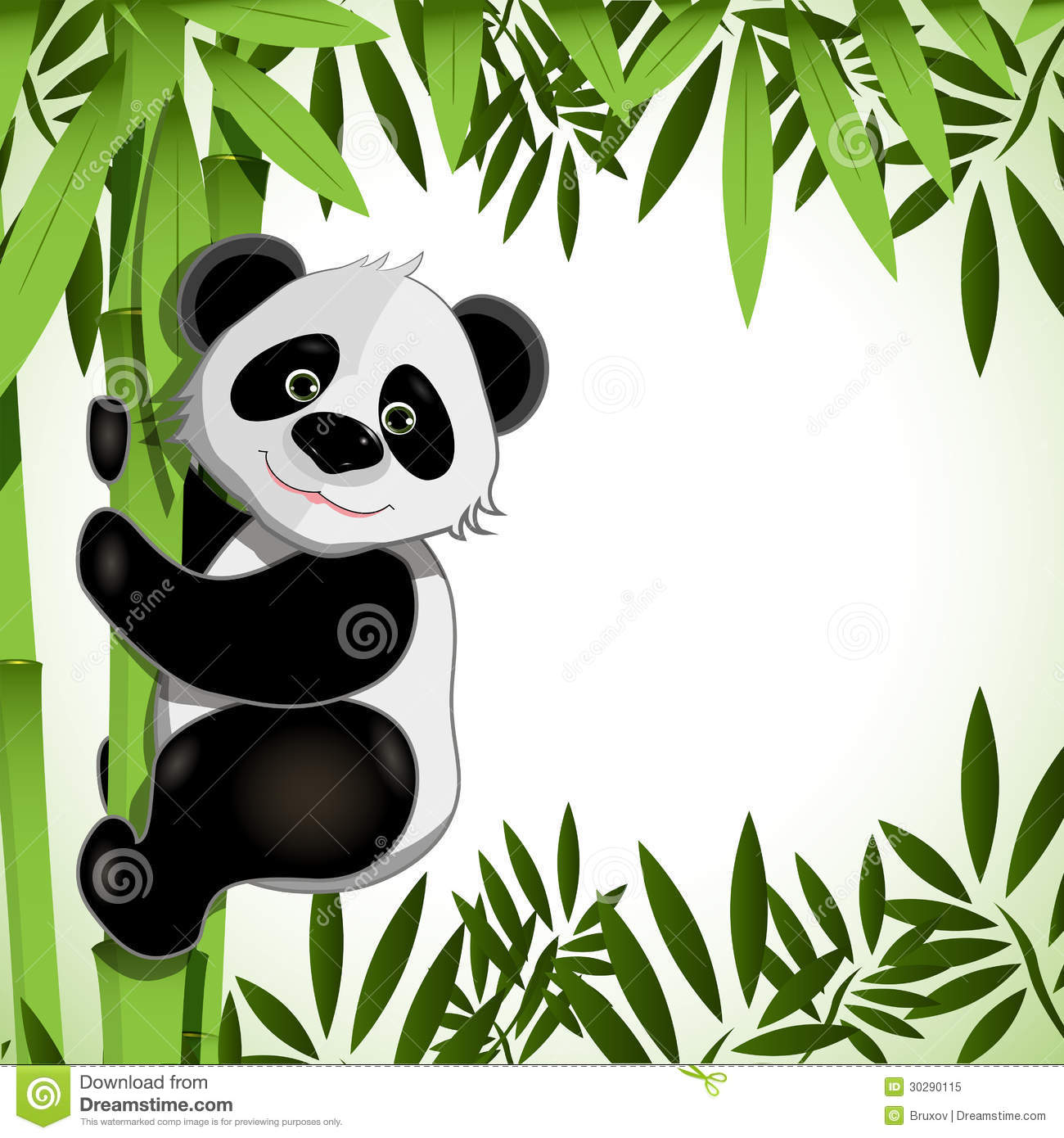 cheerful panda on bamboo stock vector illustration of