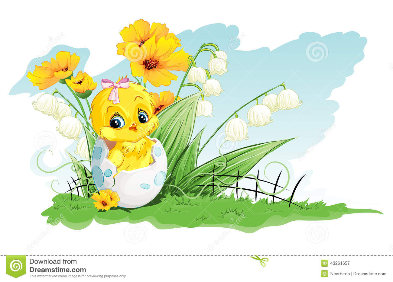 Illustration of chicken in the egg and lilies of the valley on a background of yellow flowers