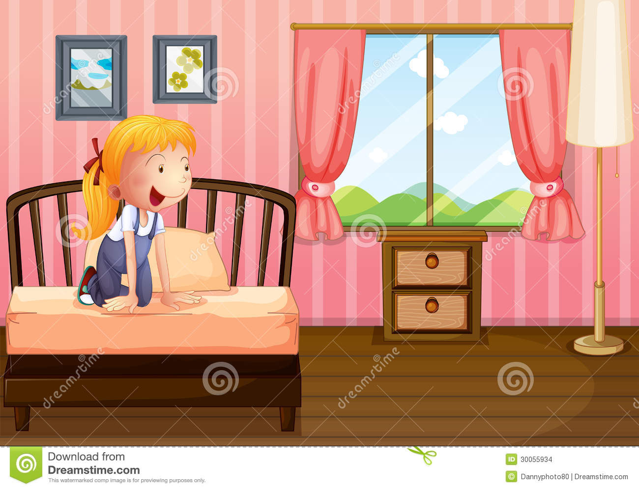 Download A Child In Her Clean Bedroom Stock Vector